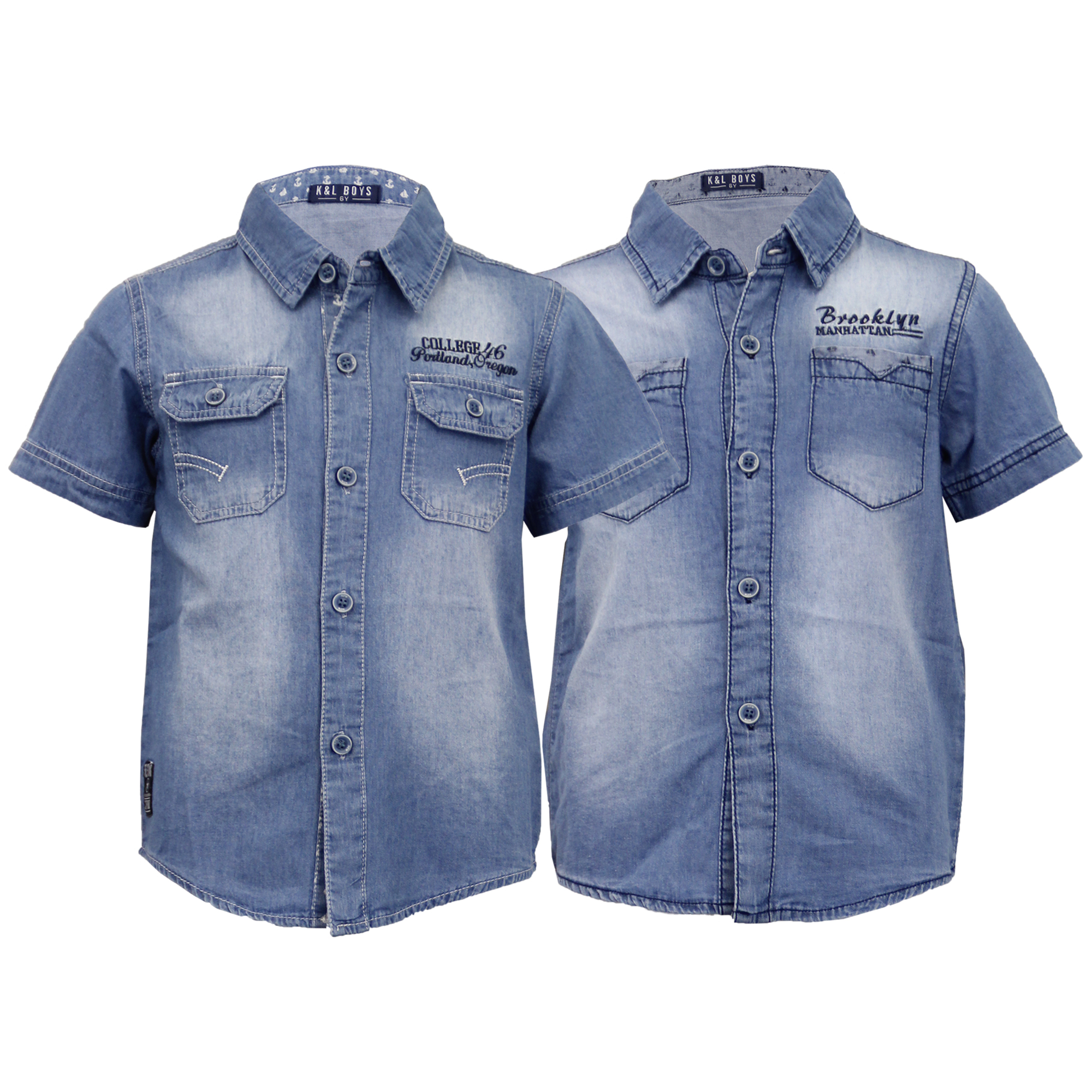 ae6d0a561a Boys Denim Shirt Kids Short Sleeved Faded Collared Cotton Casual ...