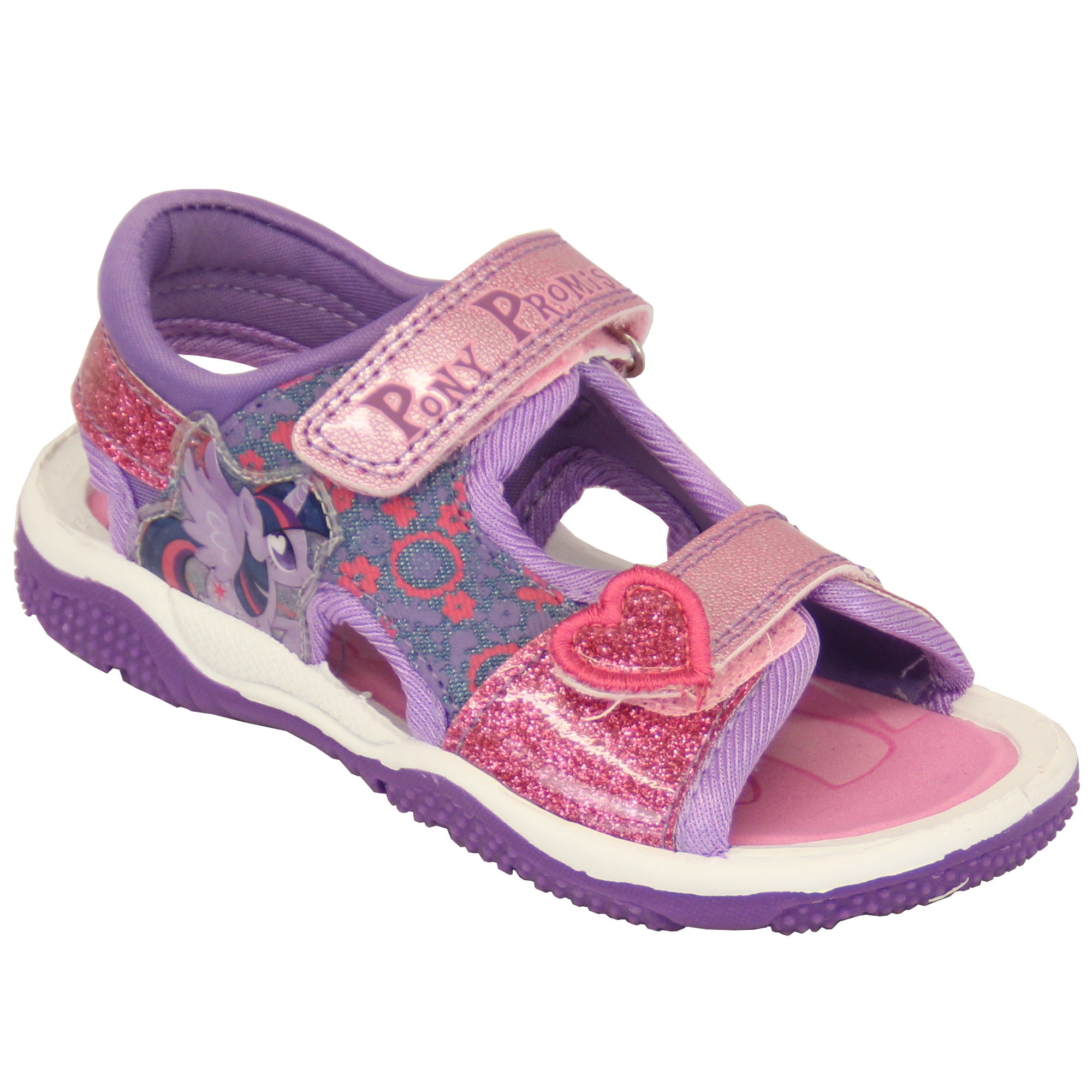 78b6cc773eed Girls Sandals My Little Pony Kids Floral Glitter Heart Strap Sports ...