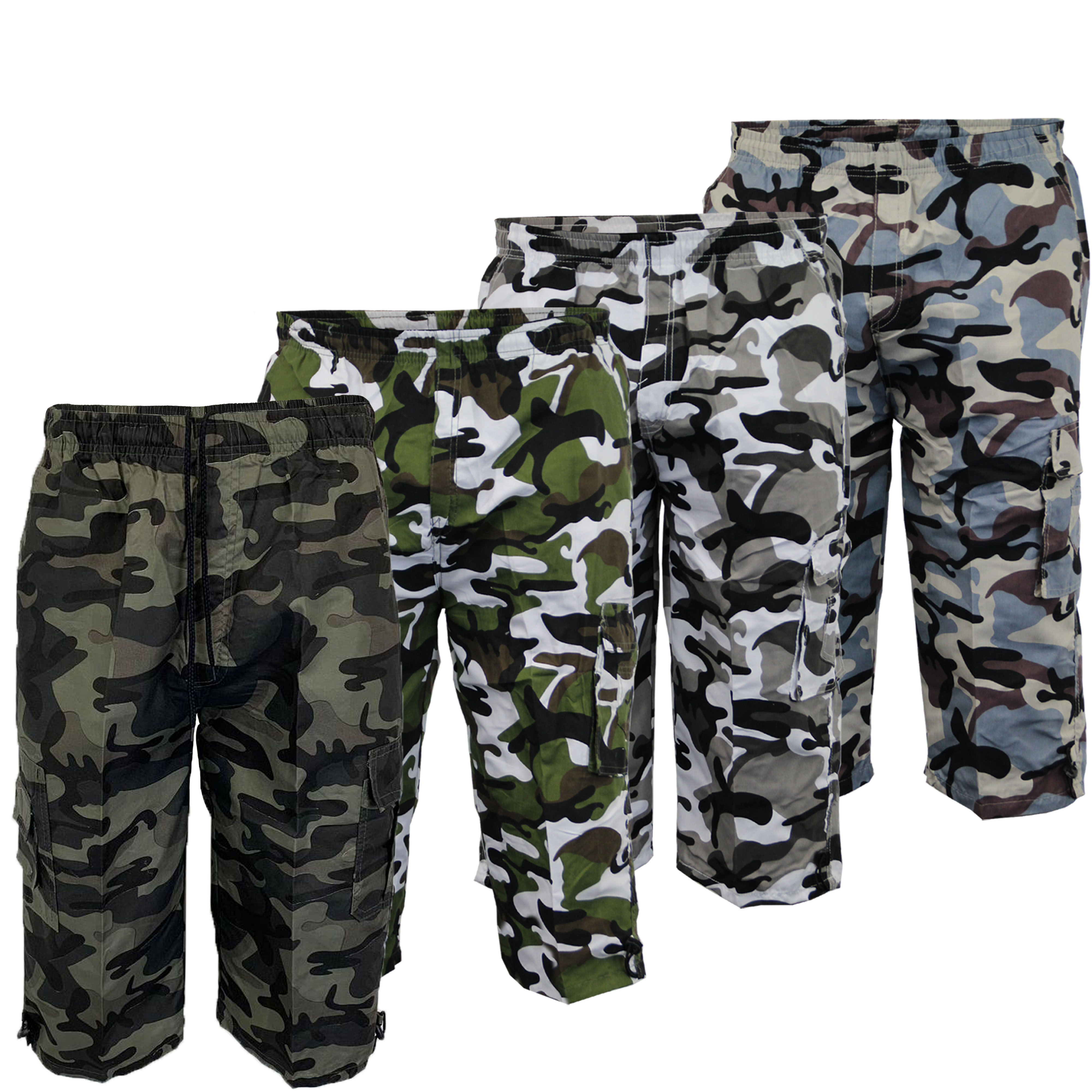 Mens-Camouflage-Combat-Cargo-Shorts-3-4-Length-Army-Military-Sports-Summer-New thumbnail 4