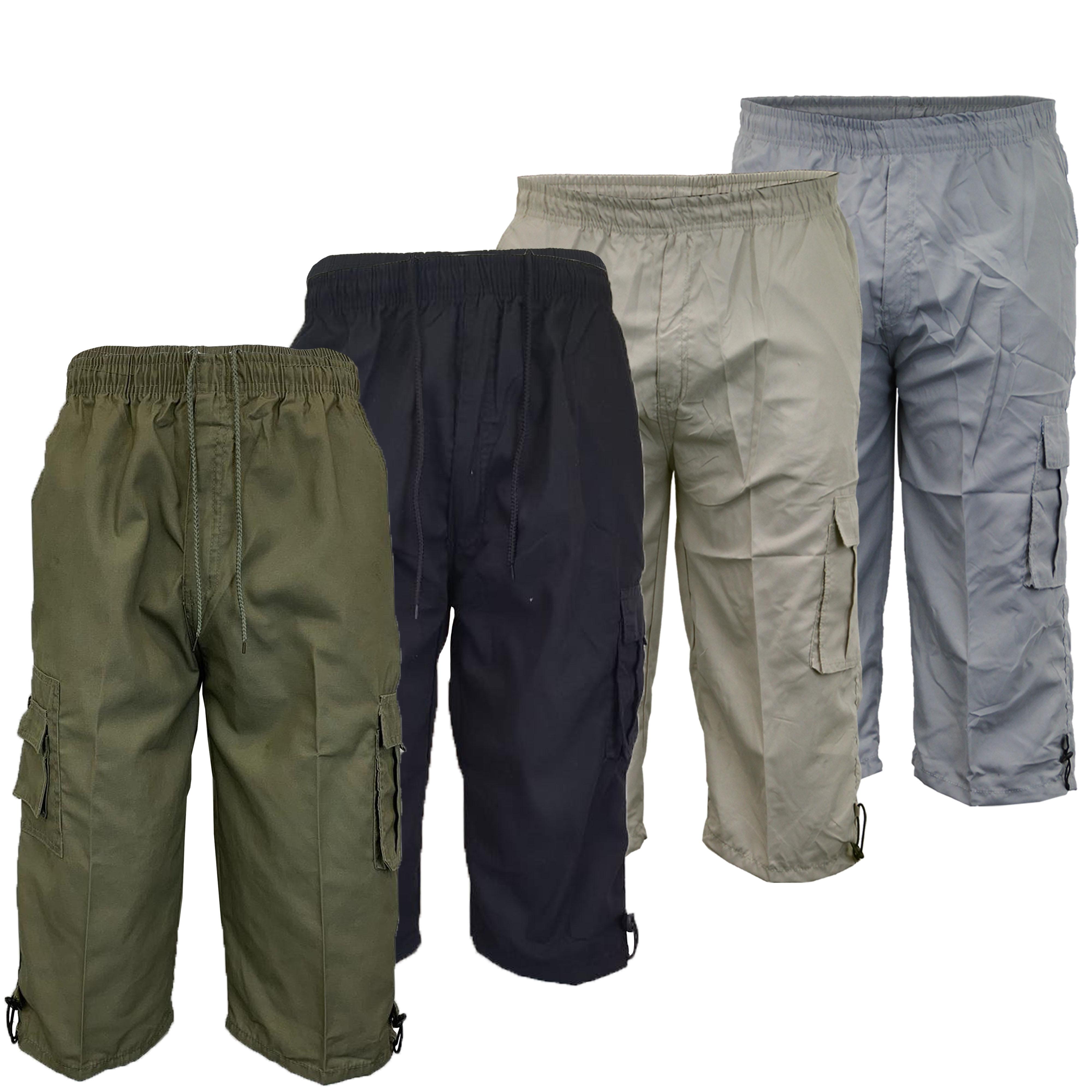 Mens-Combat-Cargo-Shorts-3-4-Length-Plain-Sport-Fashion-Casual-Summer-New thumbnail 5