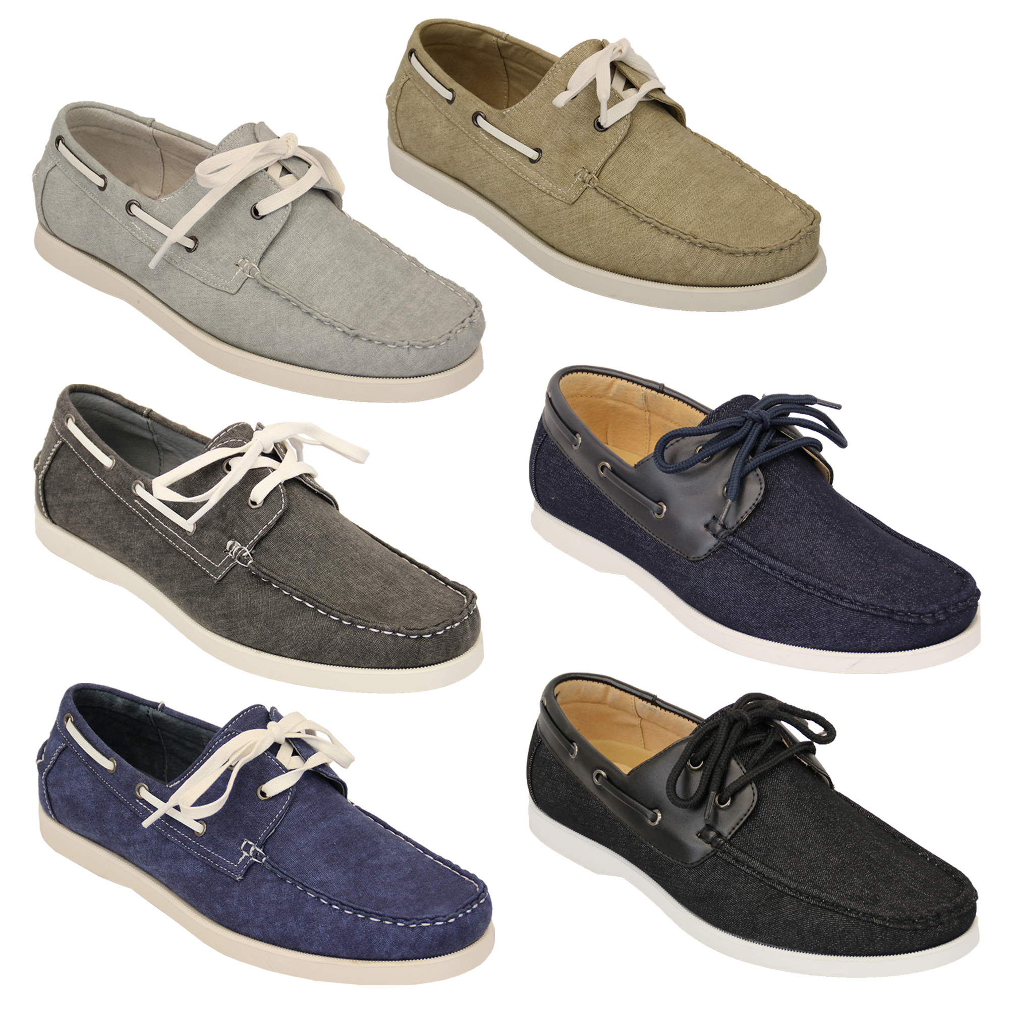 Mens Denim Leather Boat Shoes Driving Lace Up Deck Galax Smart ... 6628ac5ce