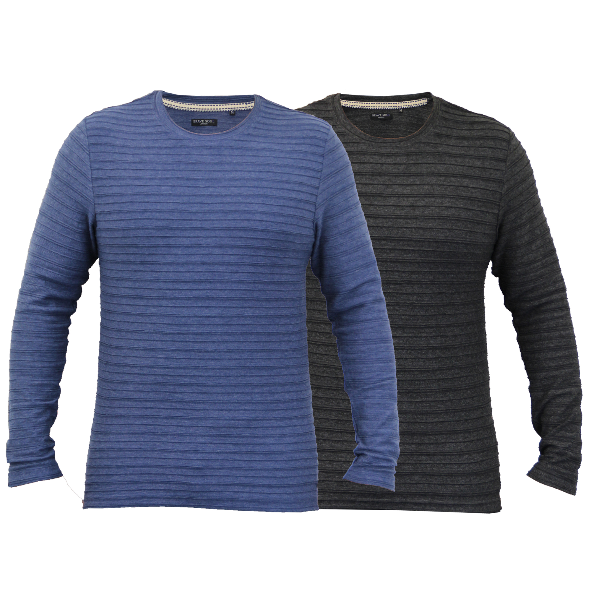 21477a6124db3e Details about mens long sleeved jersey top Brave Soul t shirt plain crew  neck ribbed summer