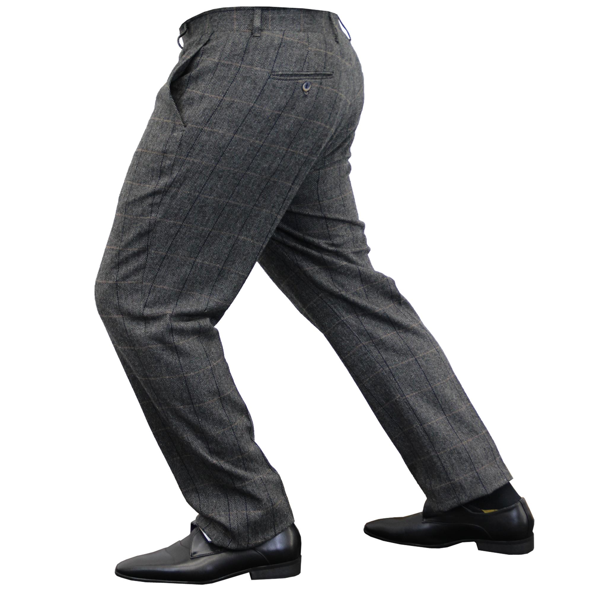 Mens-Wool-Mix-Trousers-Cavani-Tweed-Herringbone-Checked-Pants-Office-Work-New thumbnail 3