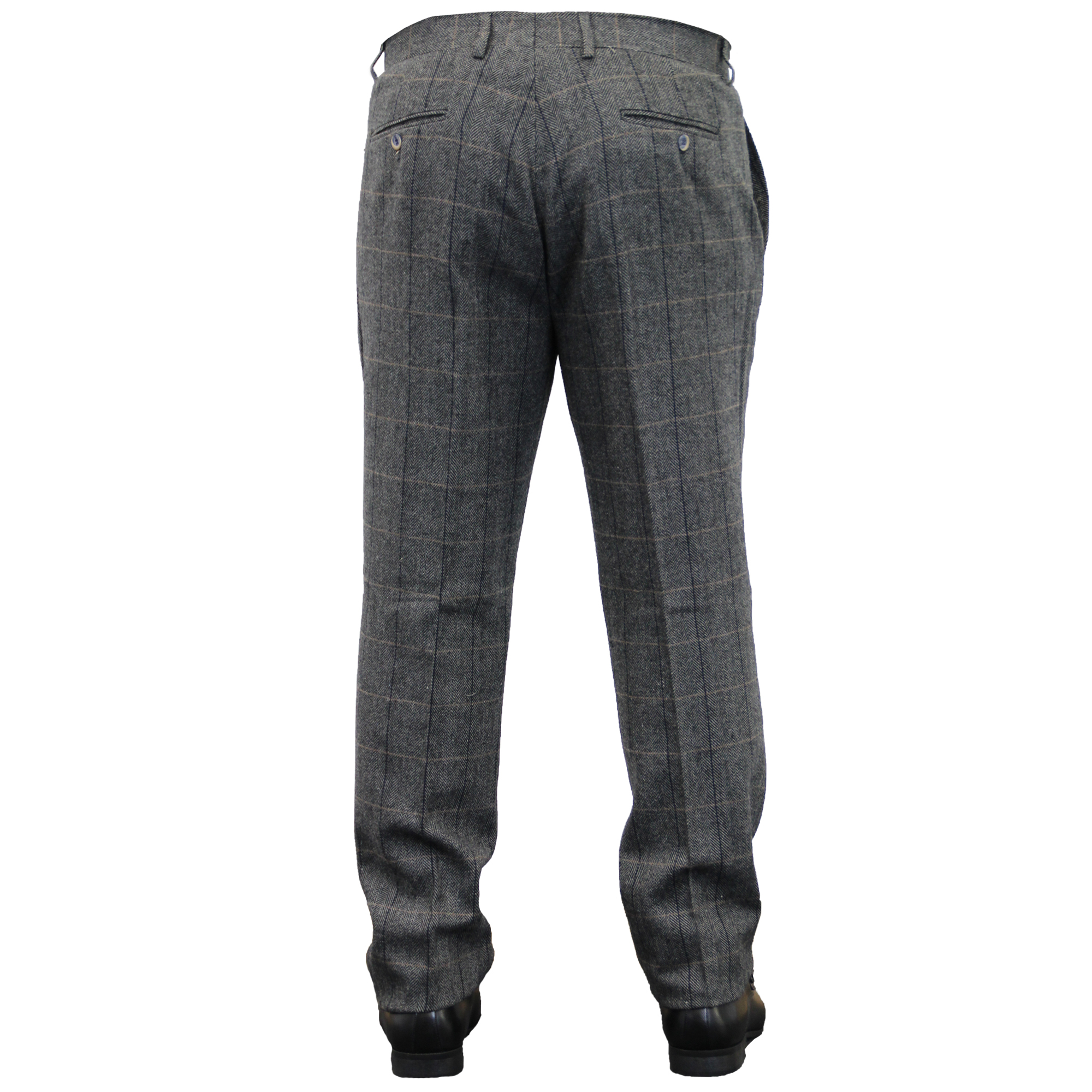 Mens-Wool-Mix-Trousers-Cavani-Tweed-Herringbone-Checked-Pants-Office-Work-New thumbnail 4