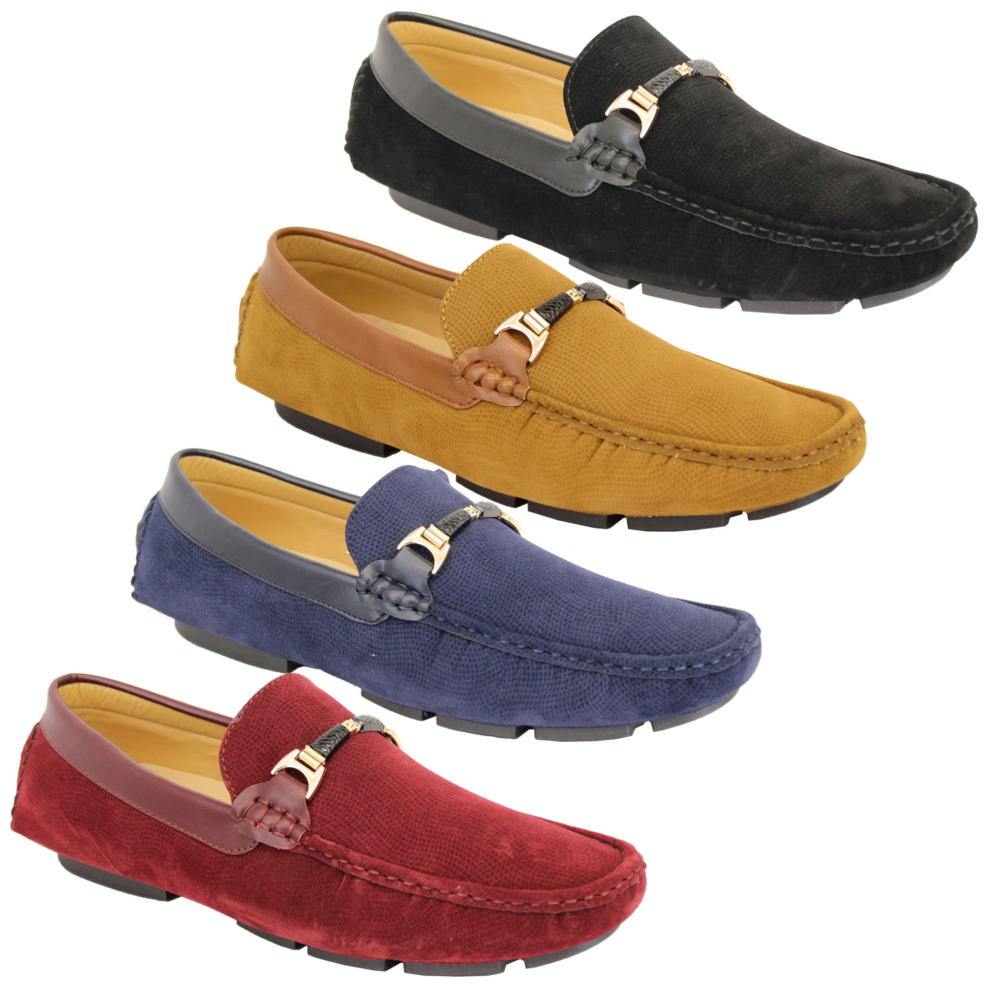 5ad953fd791 Mens Moccasins Suede Look Shoes Driving Loafers Slip On Boat Ribbon ...