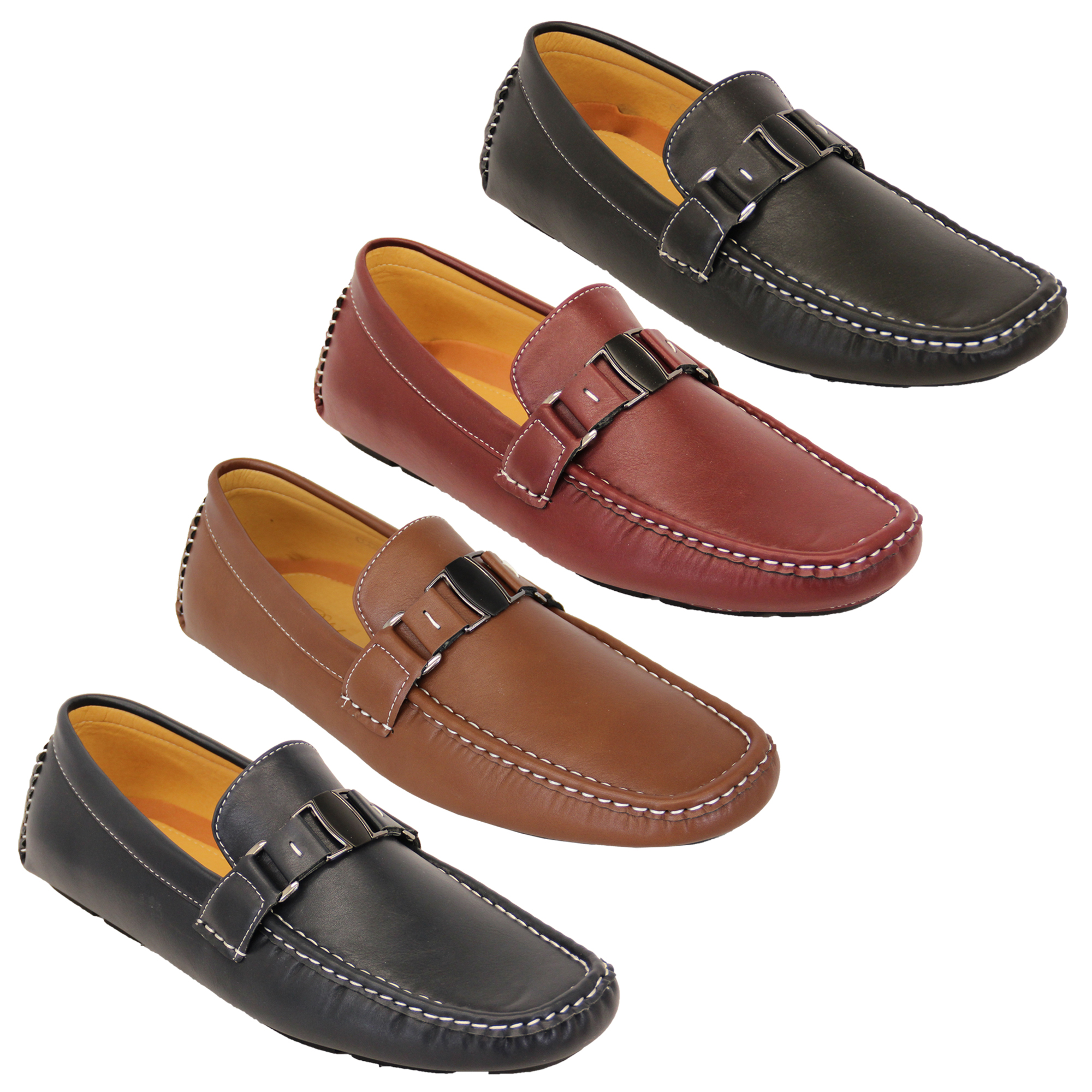 c9a999c8e389b Mens Moccasins Leather Look Shoes Driving Loafers Slip On Boat ...