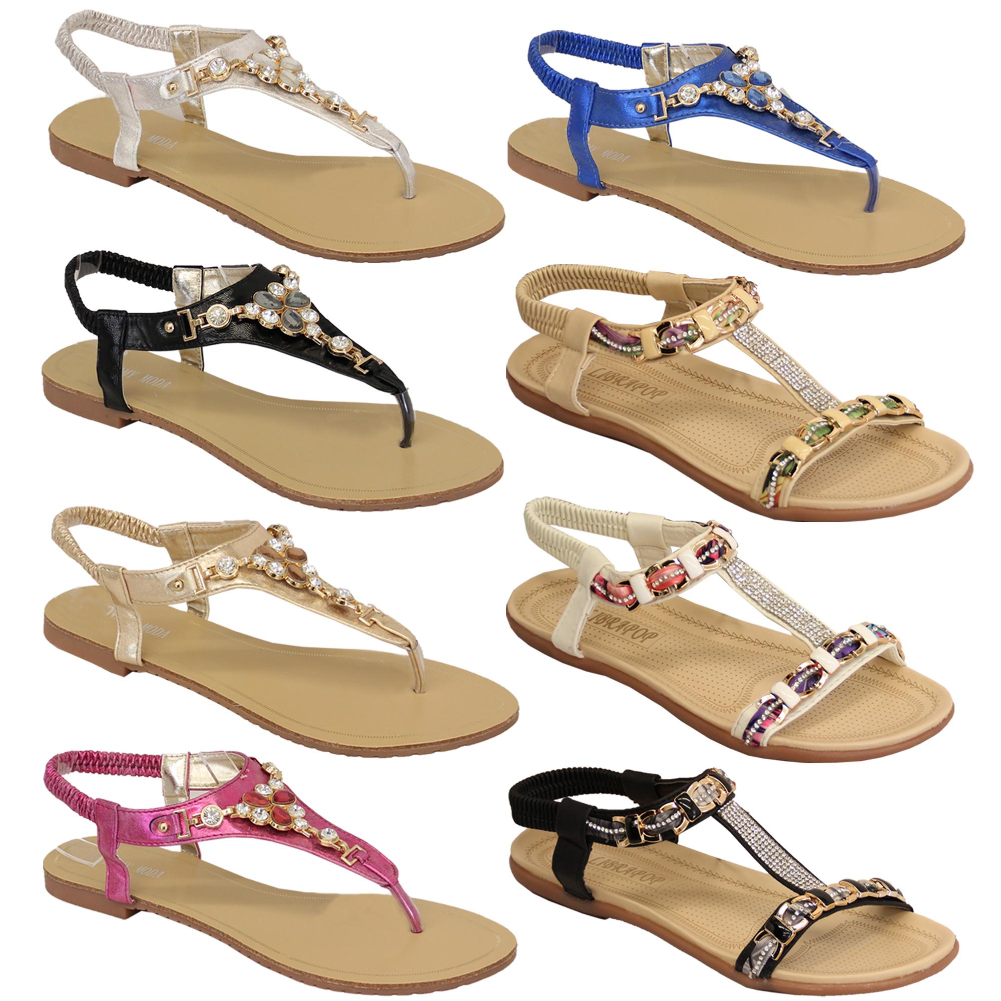 Ladies Diamante Sandals Womens Slip On