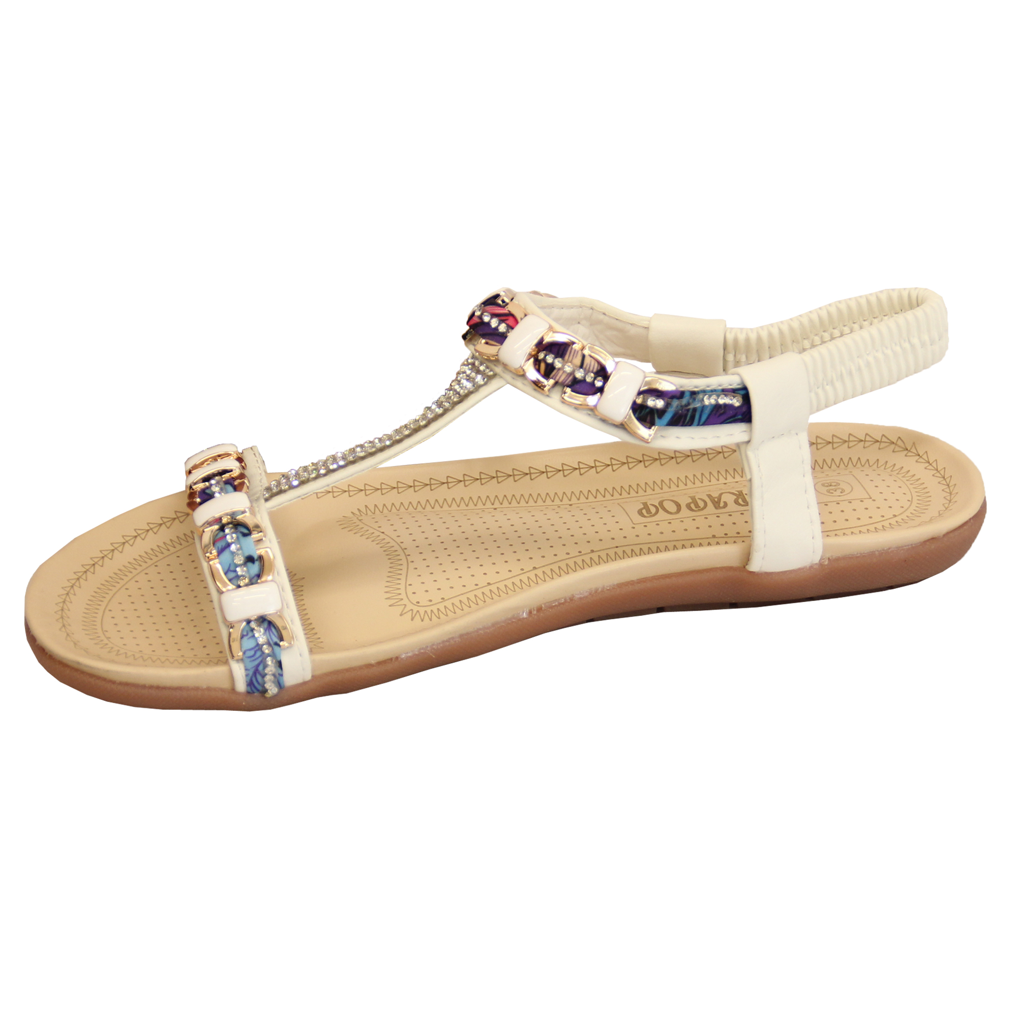 Details about Ladies Diamante Sandals Womens Slip On Flat Open Toe Sling Back Summer Shoes New