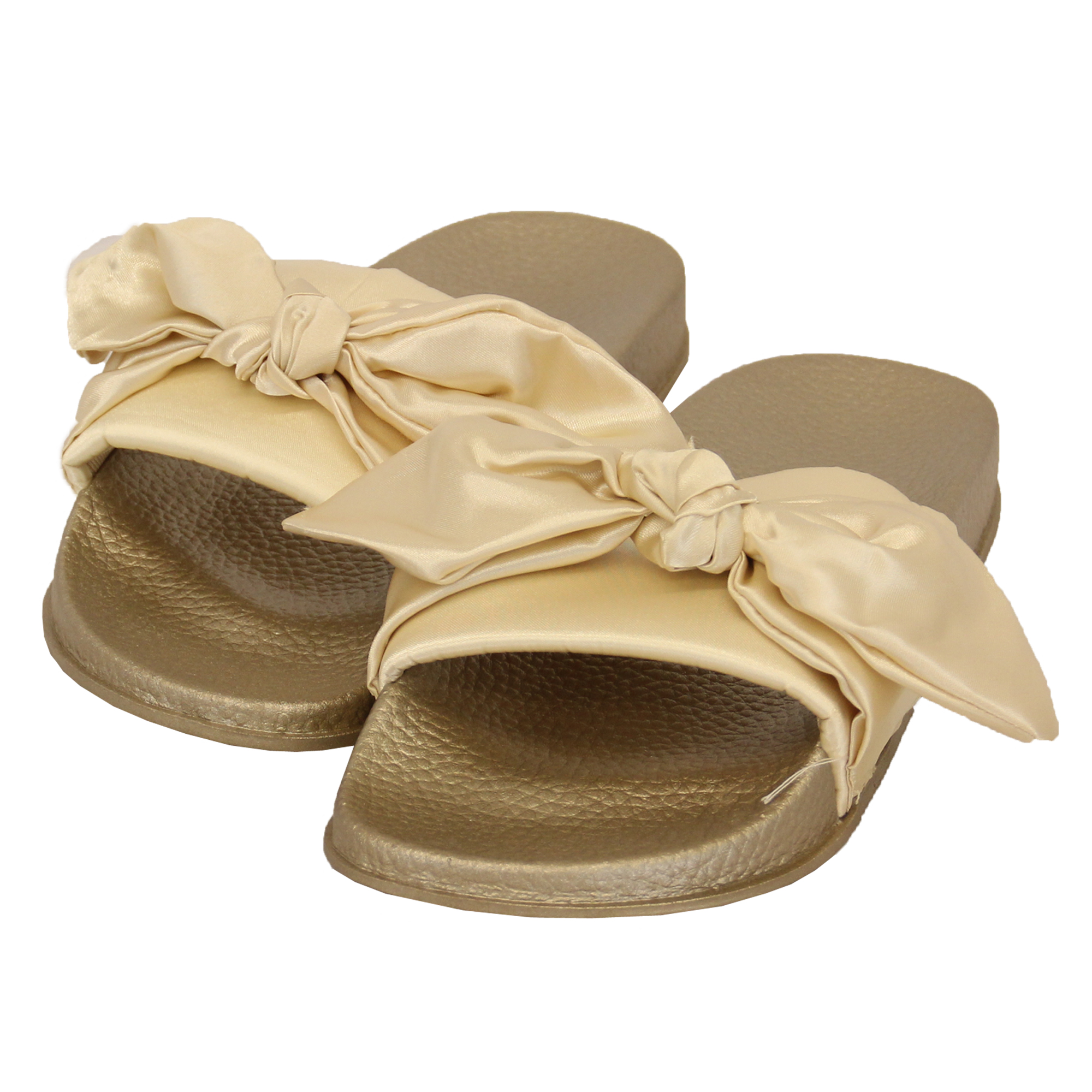 Details about Ladies Slip On Slippers Bow Sliders Women Comfy Rubber Mules Sandals Summer New