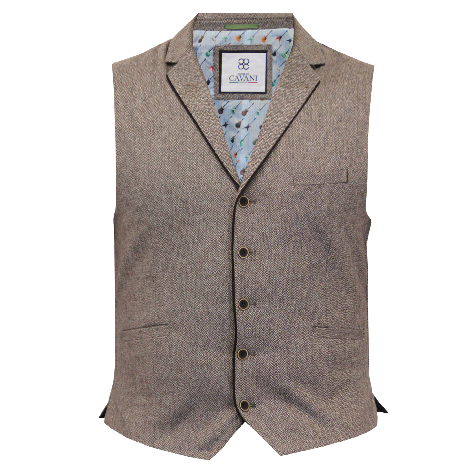 Mens-Waistcoat-Wool-Mix-Cavani-Formal-Vest-Herringbone-Tweed-Check-Party-Smart thumbnail 8
