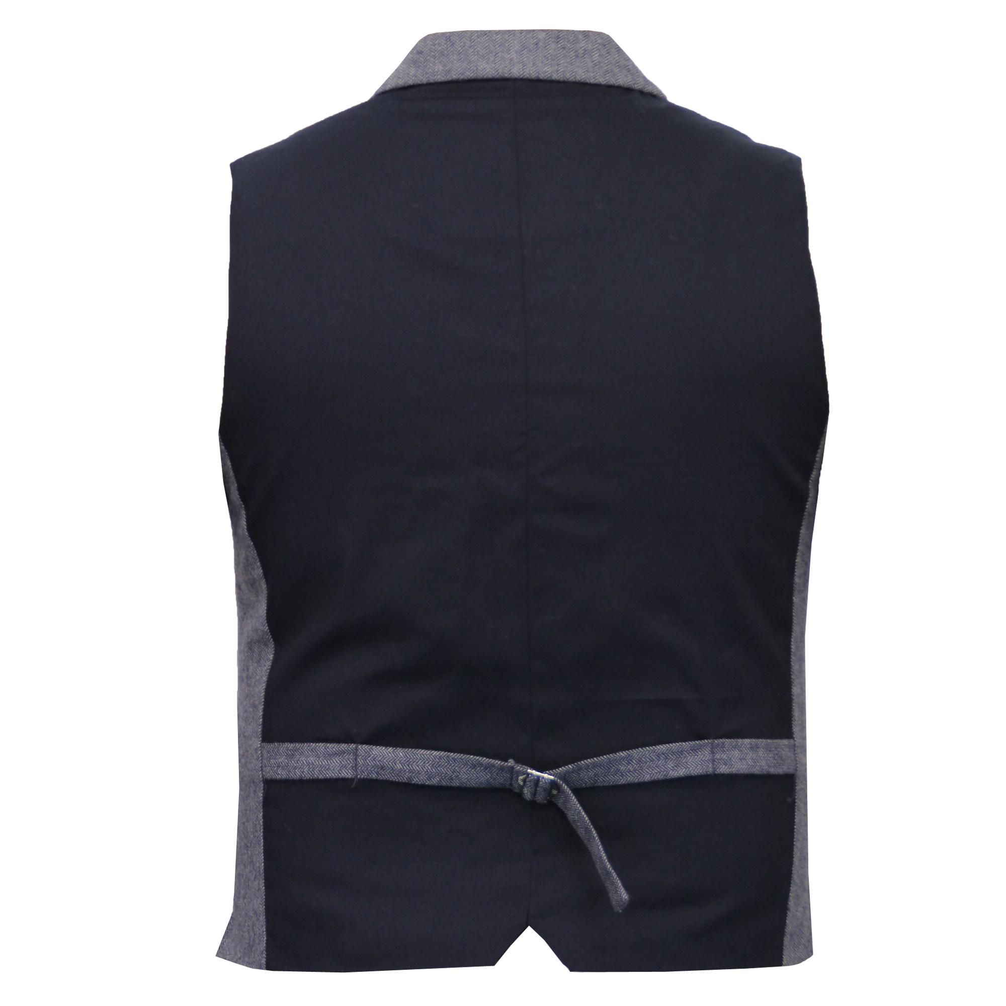 Mens-Waistcoat-Wool-Mix-Cavani-Formal-Vest-Herringbone-Tweed-Check-Party-Smart thumbnail 25