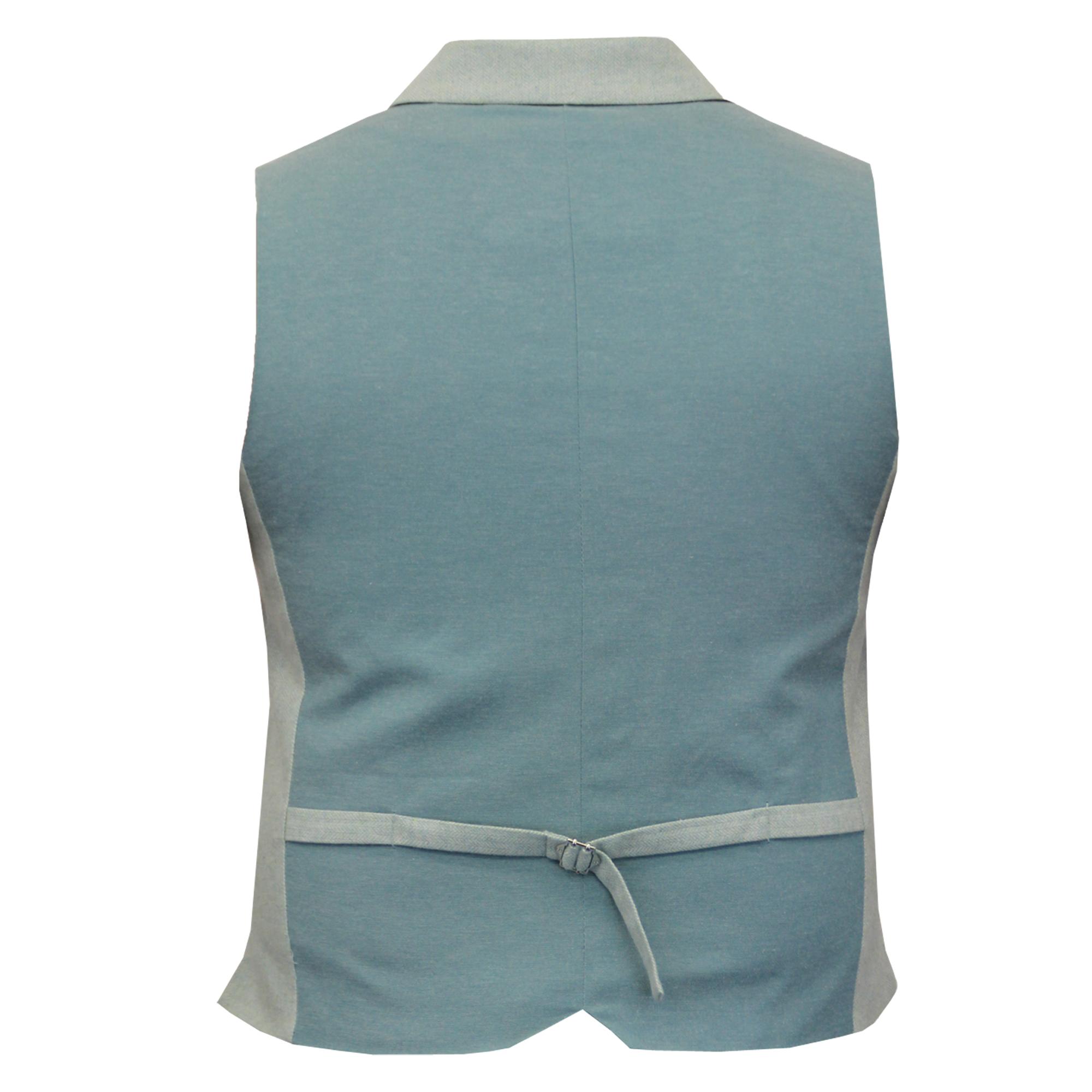 Mens-Waistcoat-Wool-Mix-Cavani-Formal-Vest-Herringbone-Tweed-Check-Party-Smart thumbnail 3