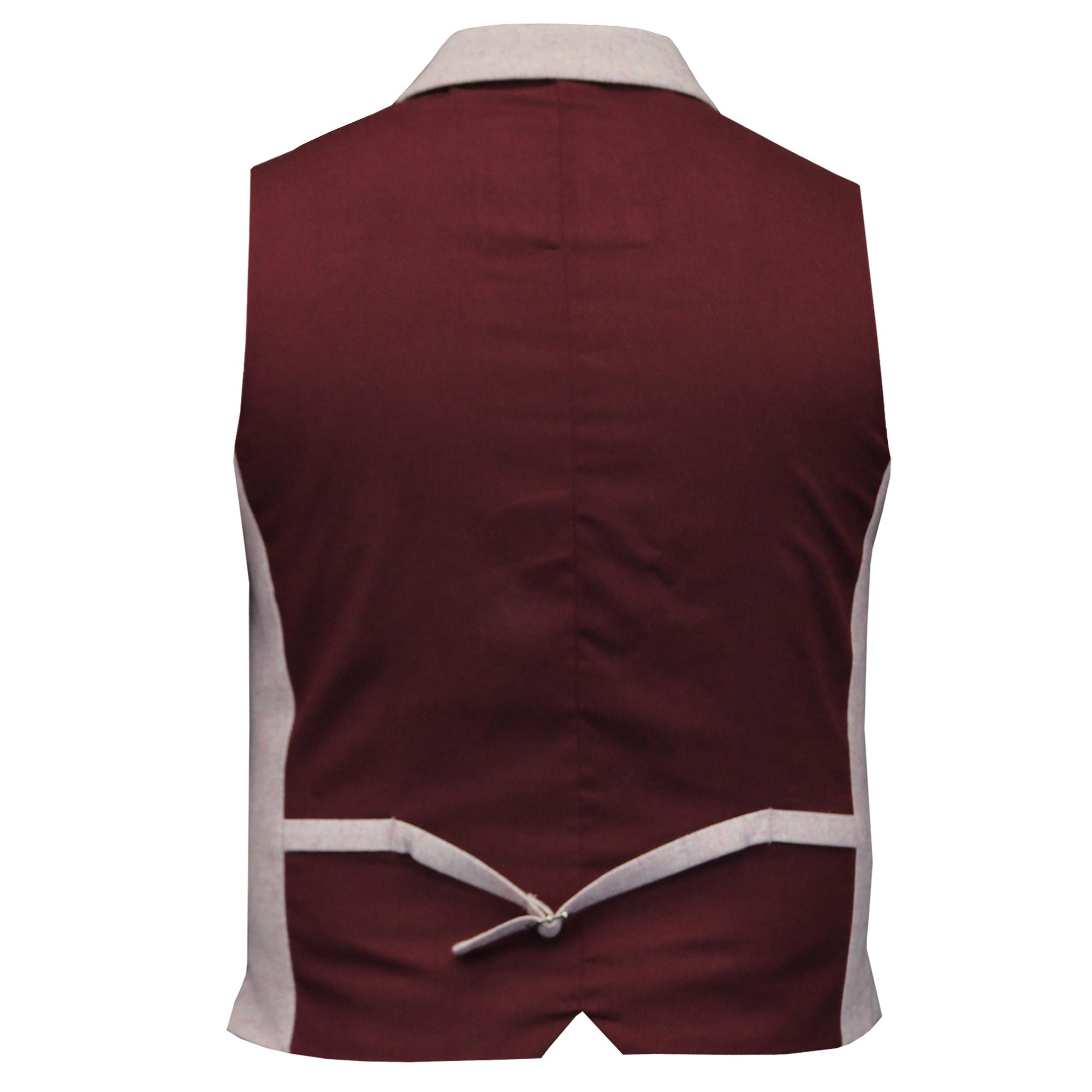 Mens-Waistcoat-Wool-Mix-Cavani-Formal-Vest-Herringbone-Tweed-Check-Party-Smart thumbnail 34