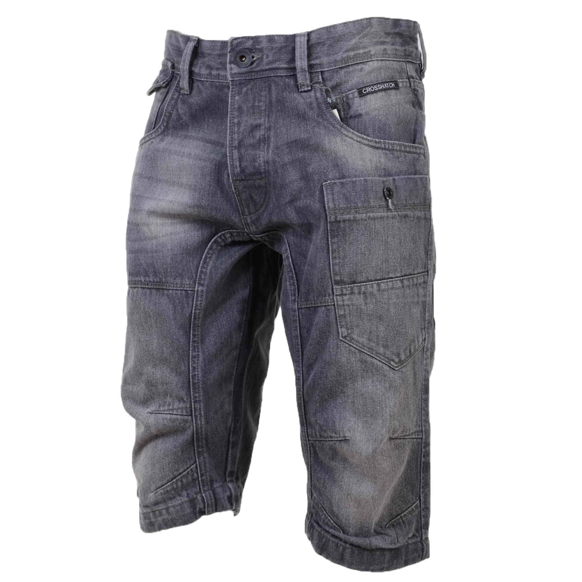 Mens Denim Shorts Crosshatch Combat Cargo Threadbare Knee ...