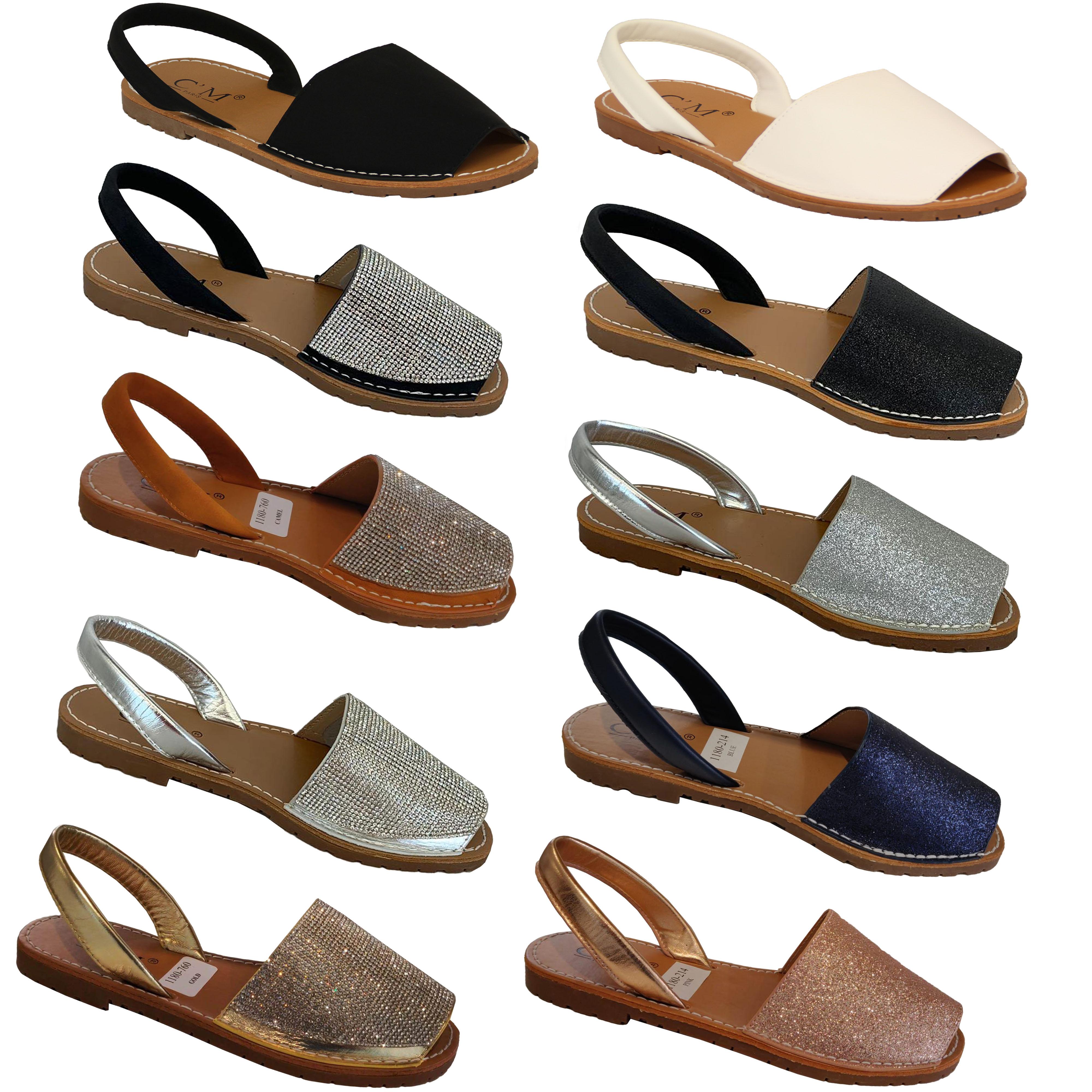Ladies Summer Beach Slingback Flat Open Toe Flip Flop Menorcan Shoes Sandals 3-8