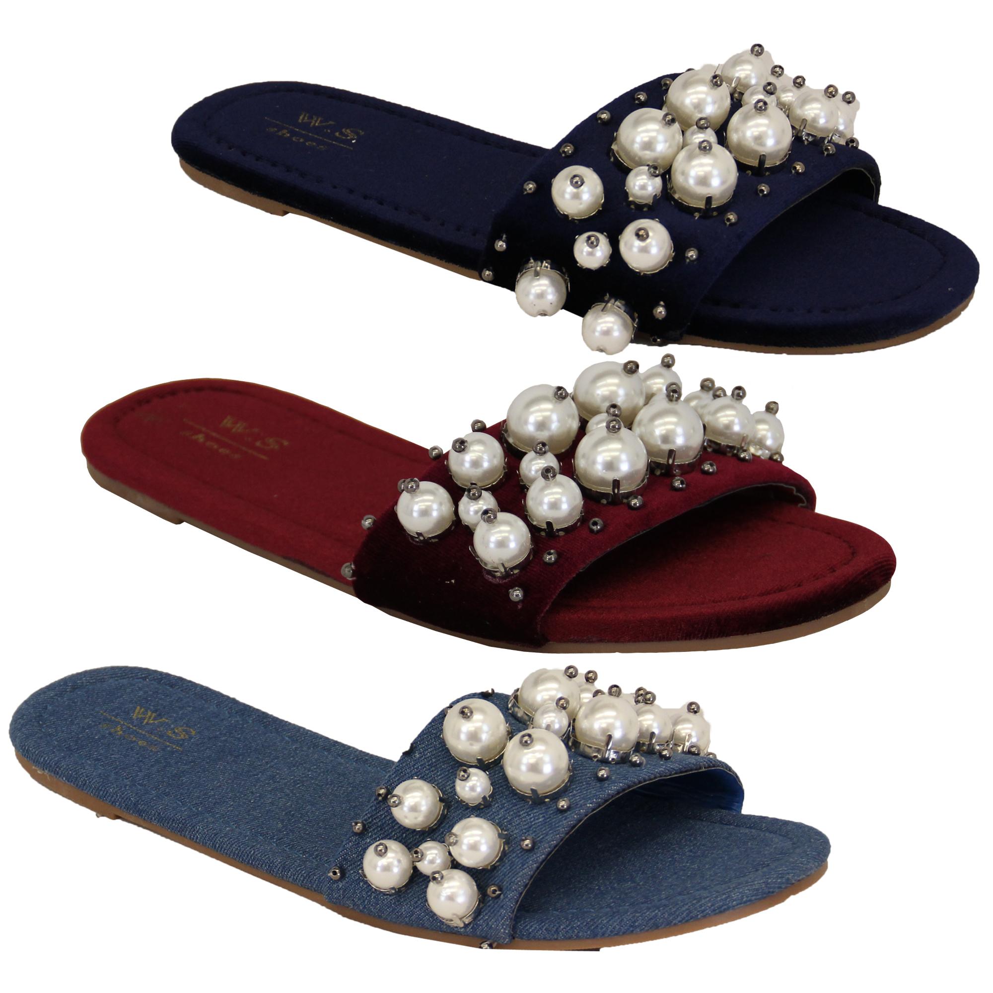 07239efdd7 Details about Ladies Slip On Sliders Womens Sandals Suede Slipper Pearl  Bead Flat Denim Comfy