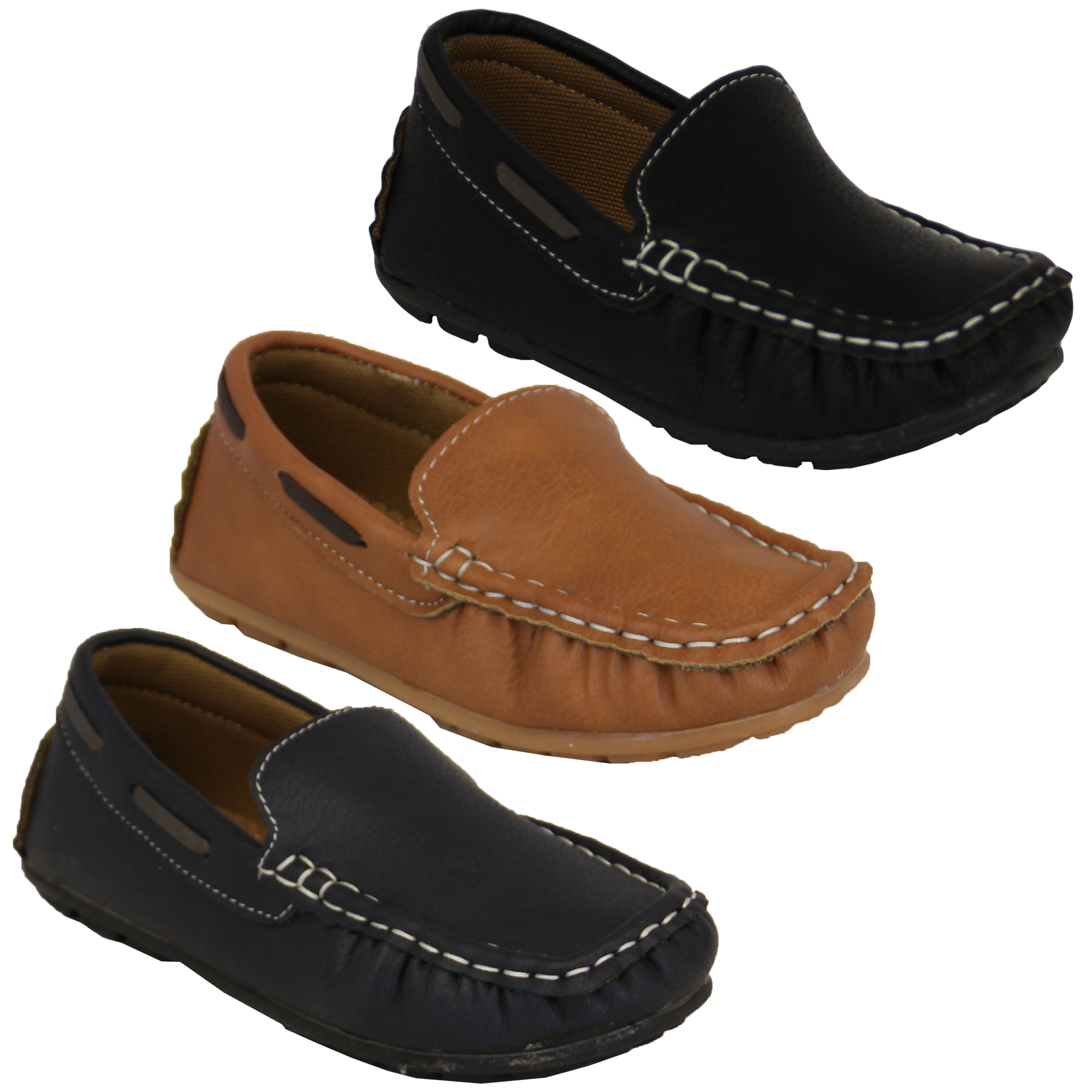 Boys Moccasins Kids Leather Look Shoes Driving Loafers Slip On Boat Deck  Casual   eBay