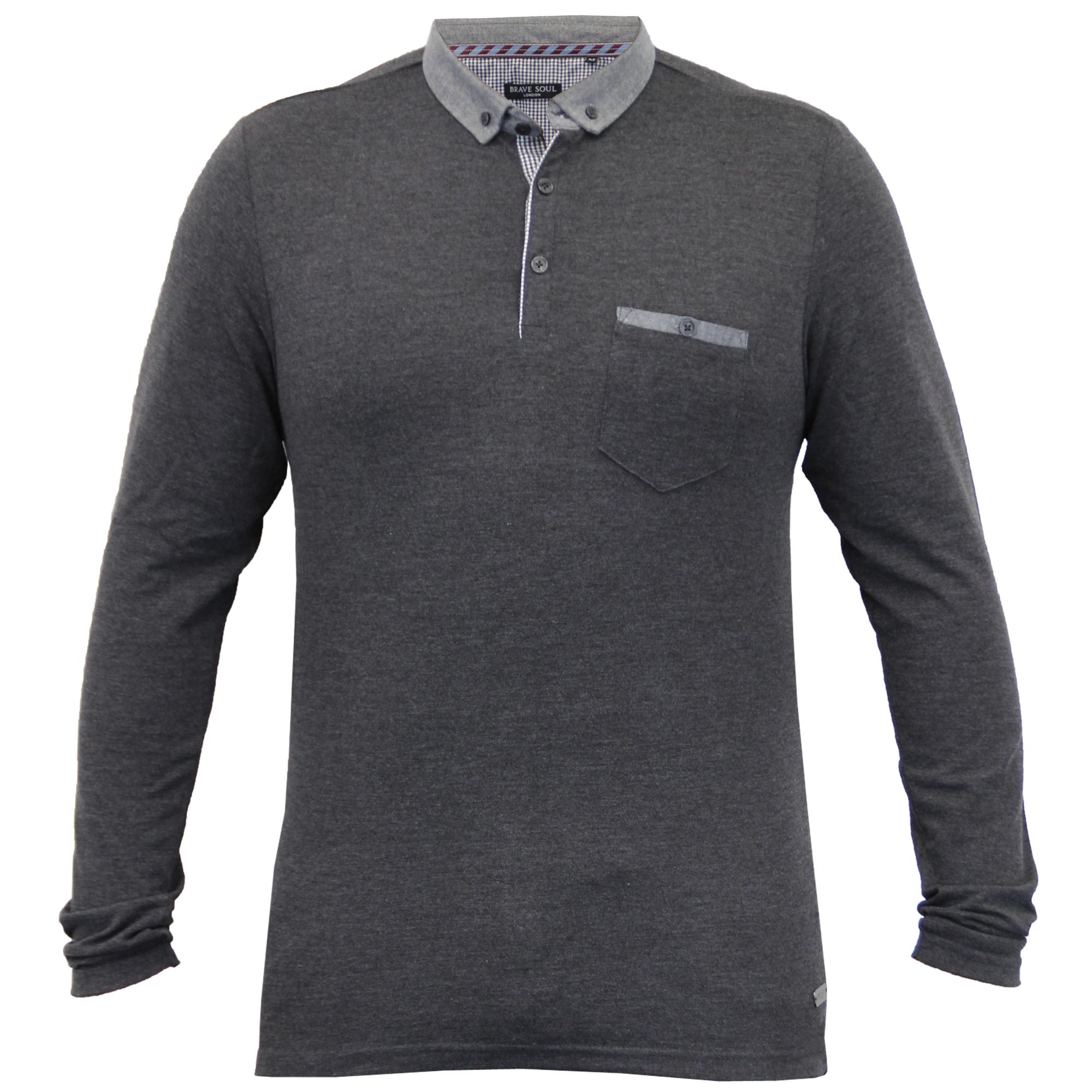Homme-a-Manches-Longues-Jersey-Top-Brave-Soul-Pique-Polo-T-Shirt-A-Col-Ete-Neuf miniature 12