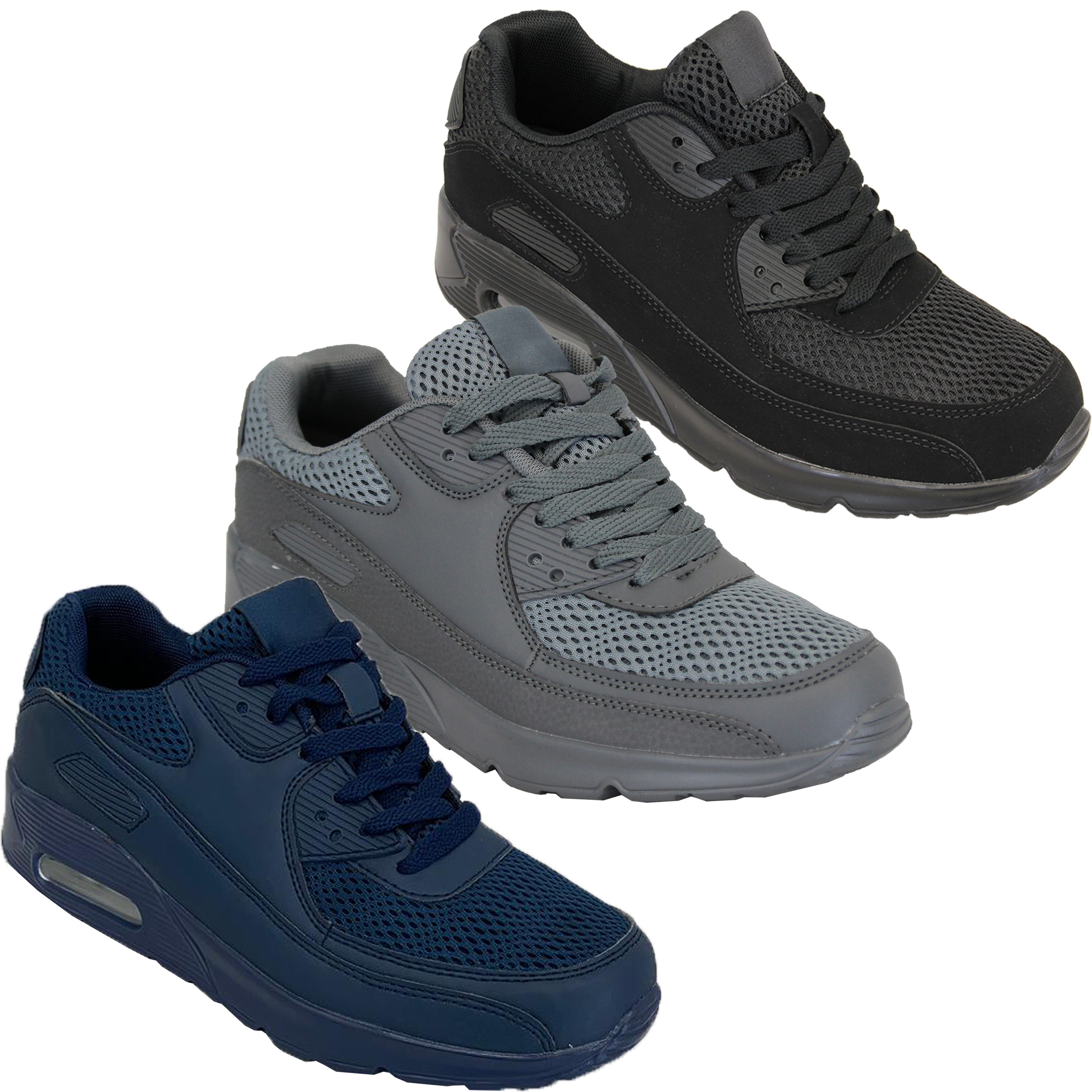 Mens-Bubble-Trainers-Lace-Up-Running-Shoes-Mesh-Jogging-Sports-Gym-Casual-New thumbnail 5