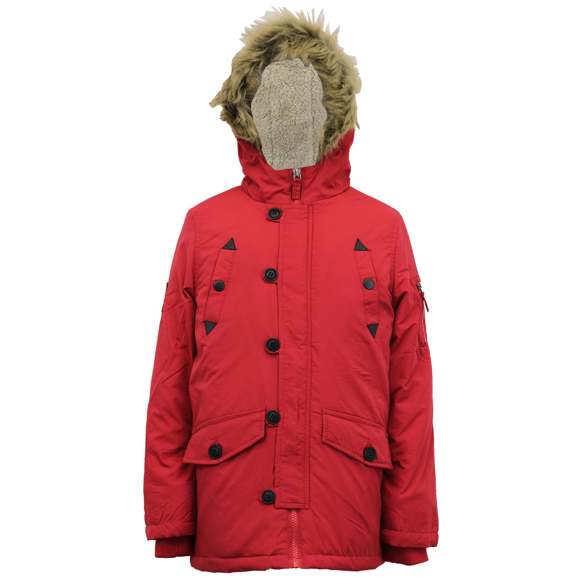 Boys Jacket Parka Coat Brave Soul Kids Padded Sherpa