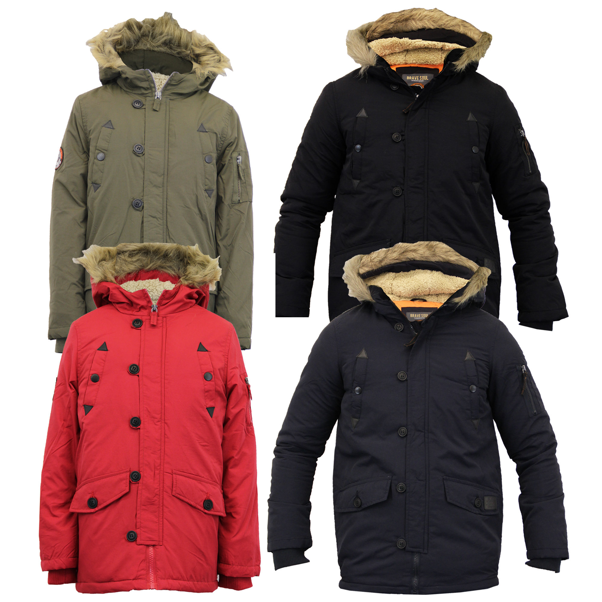 cac41feb1 Boys School Jacket Kid Parka Coat Brave Soul Padded Sherpa Hood Fur ...