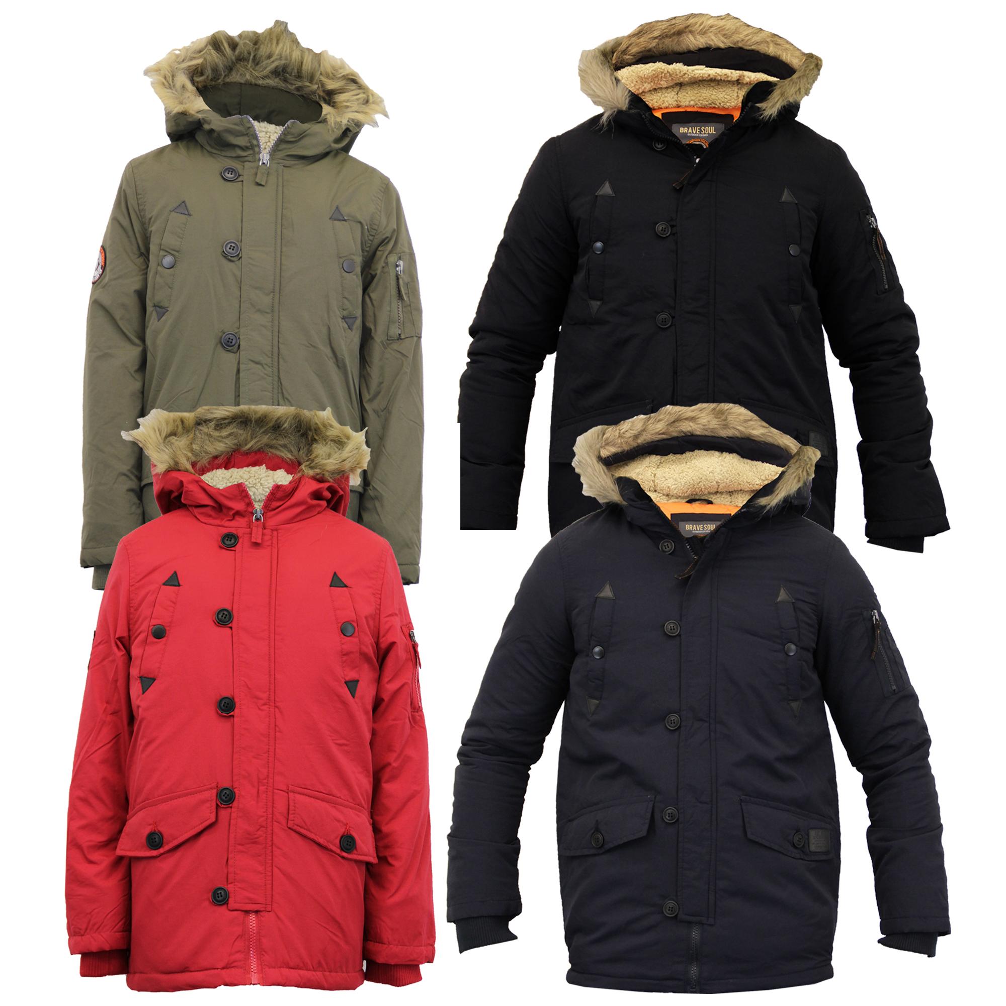 Fur Hooded Boys School Coat Kids Fleece Lined Warm Winter Padded Parka Jacket