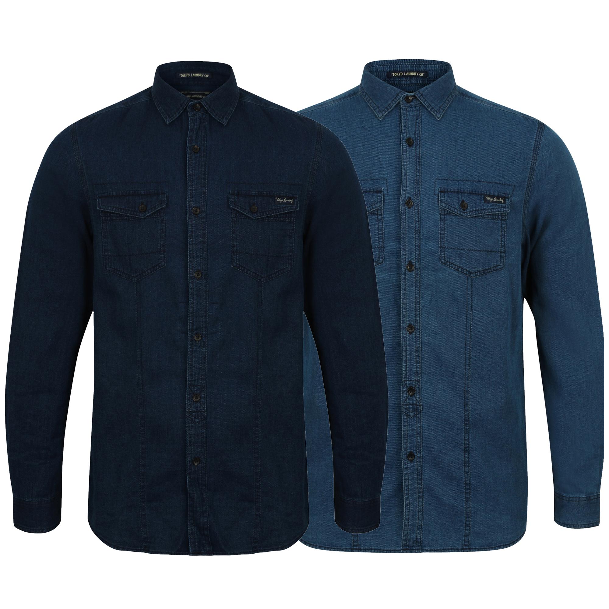 Da-Uomo-Camicie-Di-Jeans-Tokyo-Laundry-Cotone-a-Maniche-Lunghe-Con-Colletto-Top-Casual-Designer