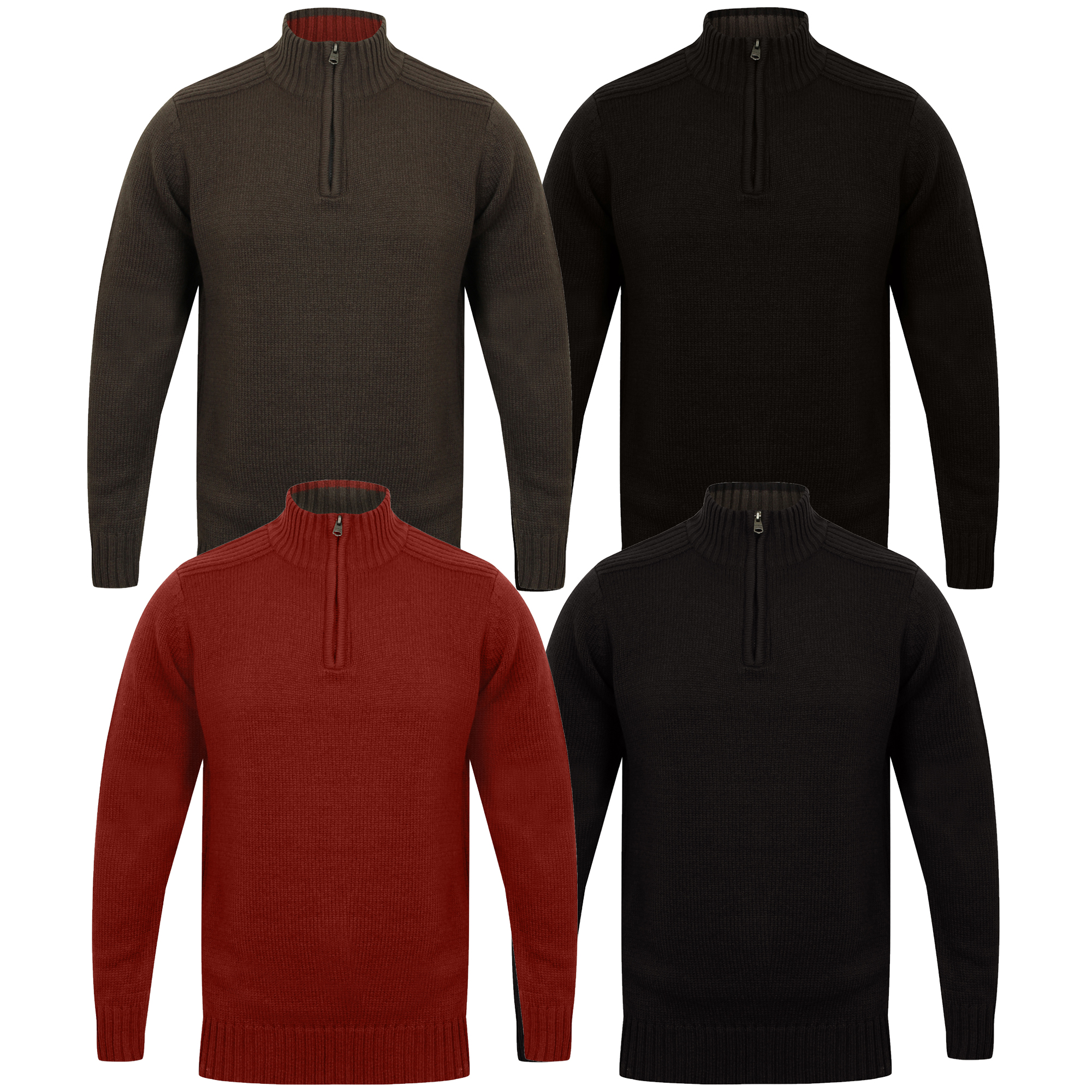Mens-Knitted-Jumper-Kensington-Eastside-Pullover-Sweater-Top-Funnel-Neck-Winter thumbnail 4