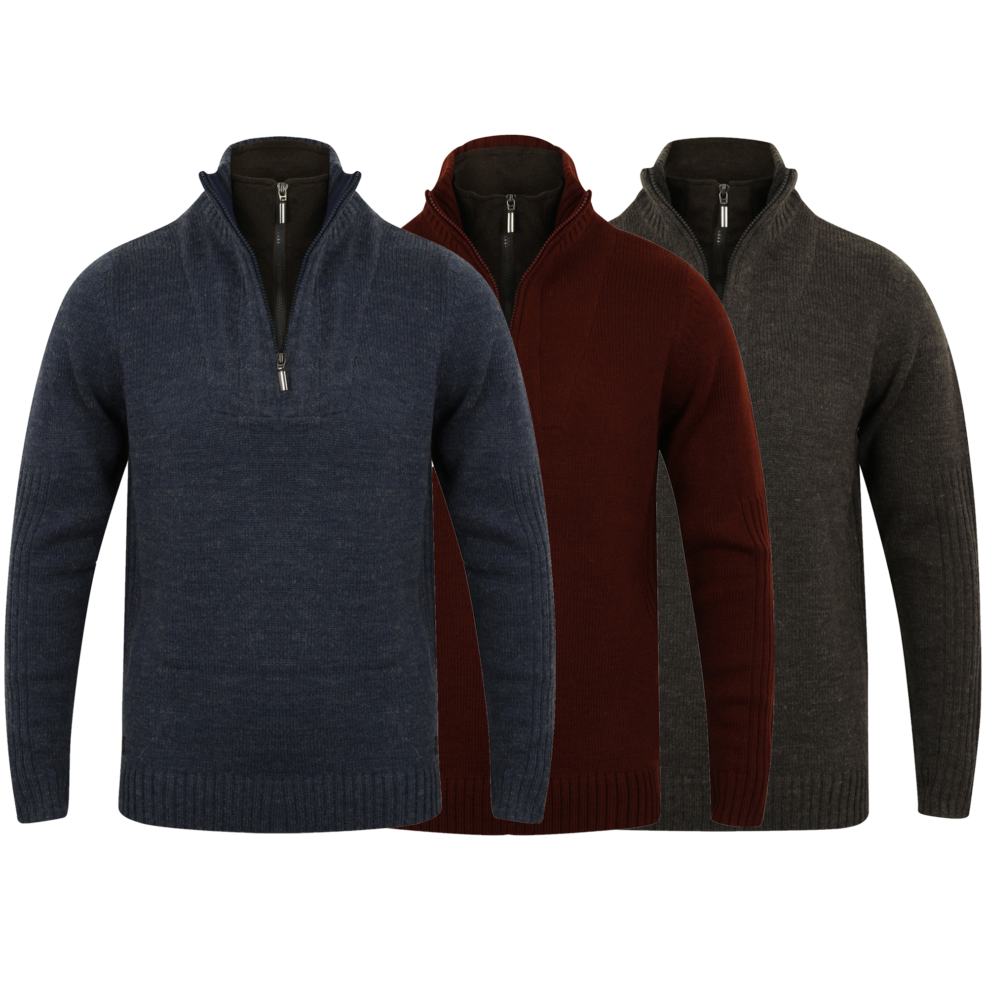 Mens-Wool-Mix-Knitted-Jumper-Dissident-Double-Layer-Funnel-Neck-Pullover-Sweater thumbnail 4
