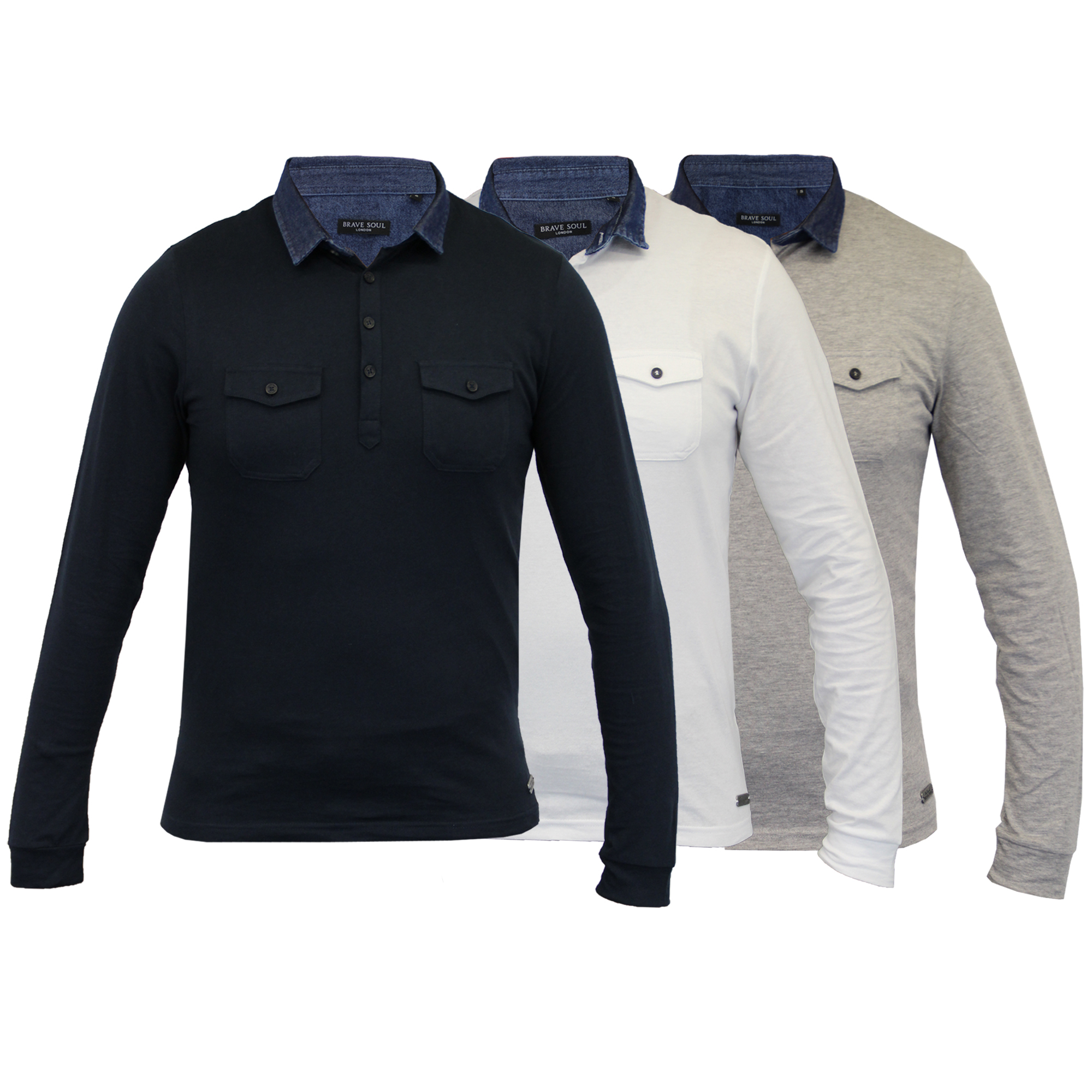Details About Mens Long Sleeved Jersey Top Brave Soul Polo T Shirt Plain Collared Neck Cotton