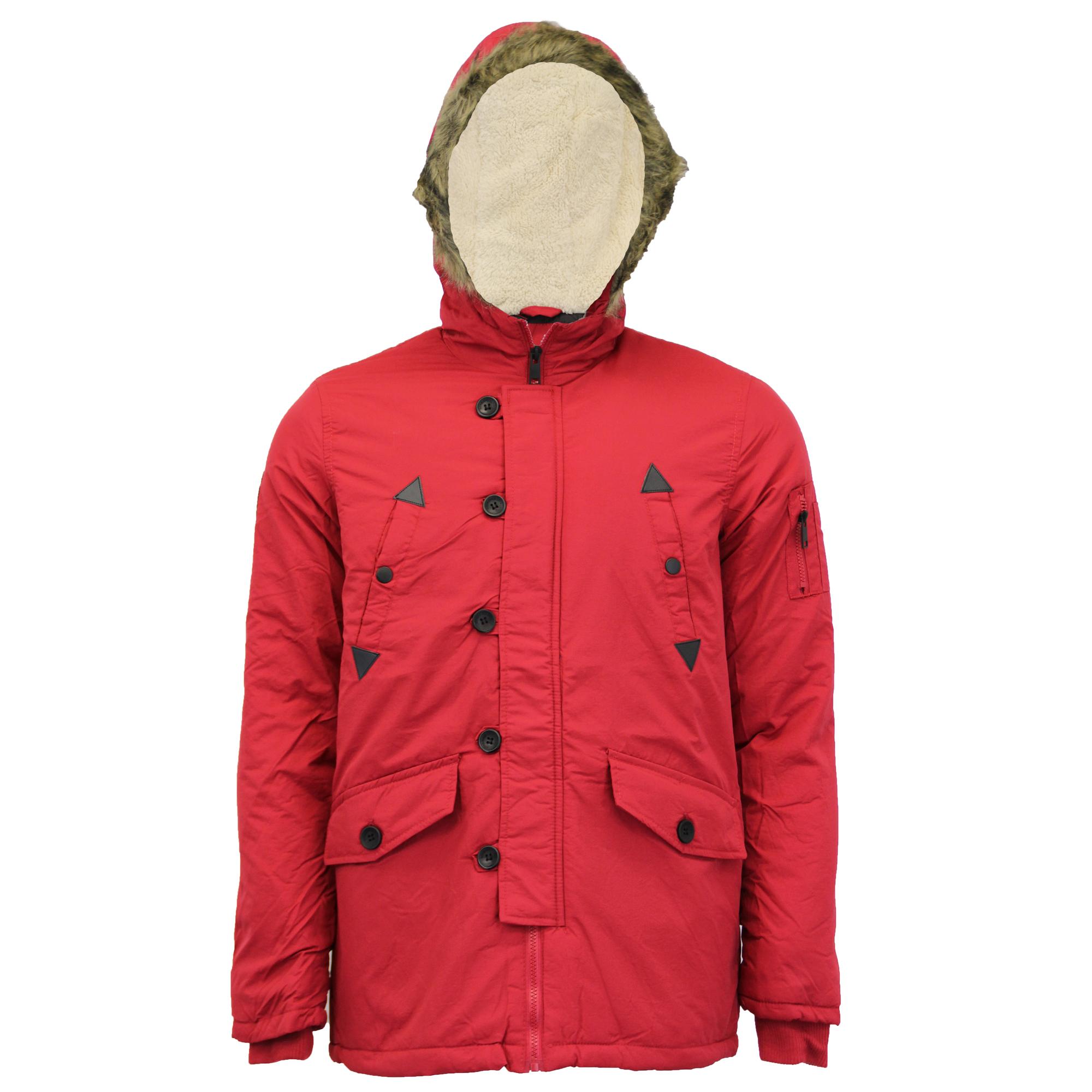 Linea uomo Giacca Parka Brave Soul Cappotto Sherpa in Pile con Cappuccio IMBOTTITO PELLICCIA SINT Inverno