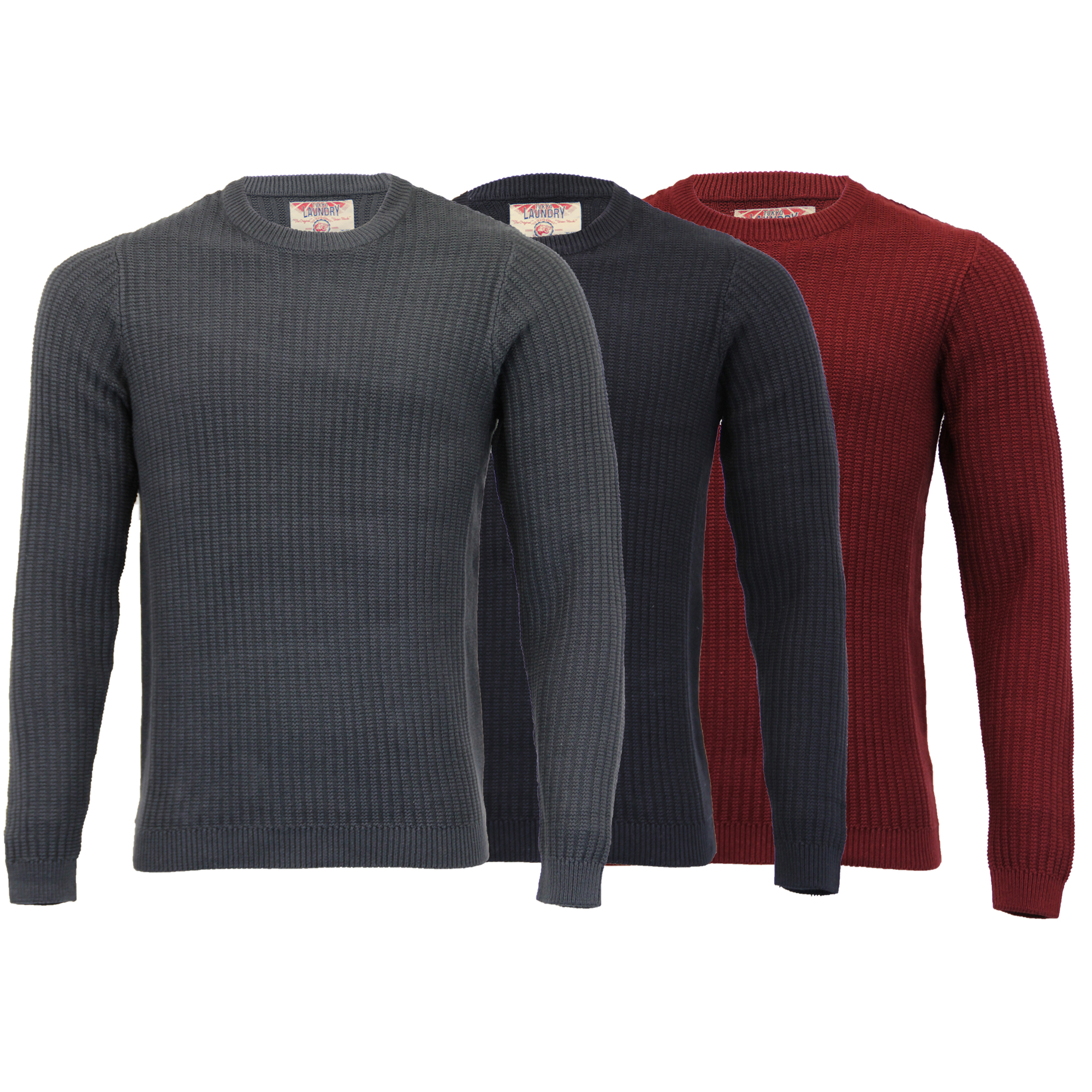 Mens-Knitted-Jumper-Tokyo-Laundry-Ribbed-Sweater-Pullover-Top-Crew-Neck-Winter thumbnail 4