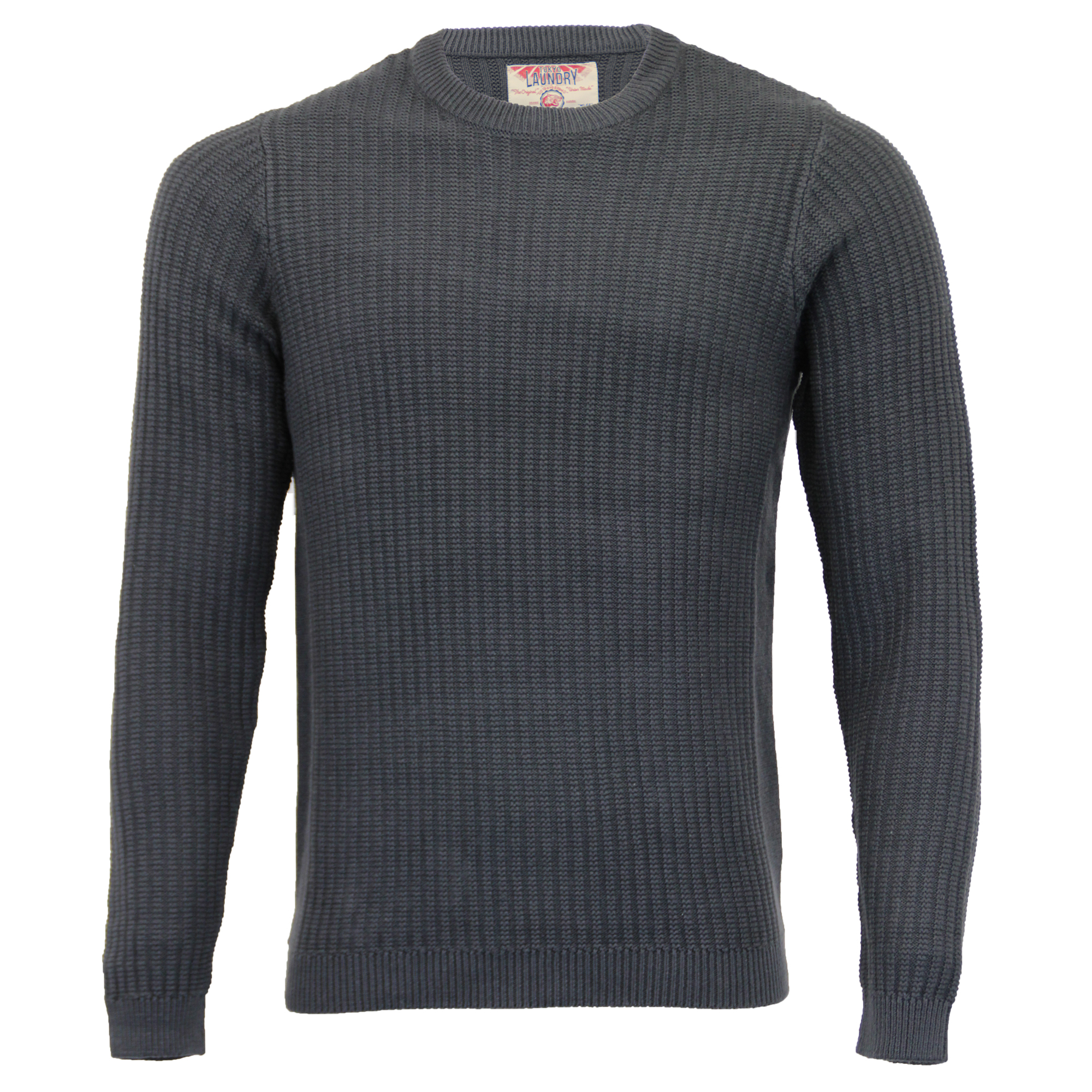 Mens-Knitted-Jumper-Tokyo-Laundry-Ribbed-Sweater-Pullover-Top-Crew-Neck-Winter thumbnail 2