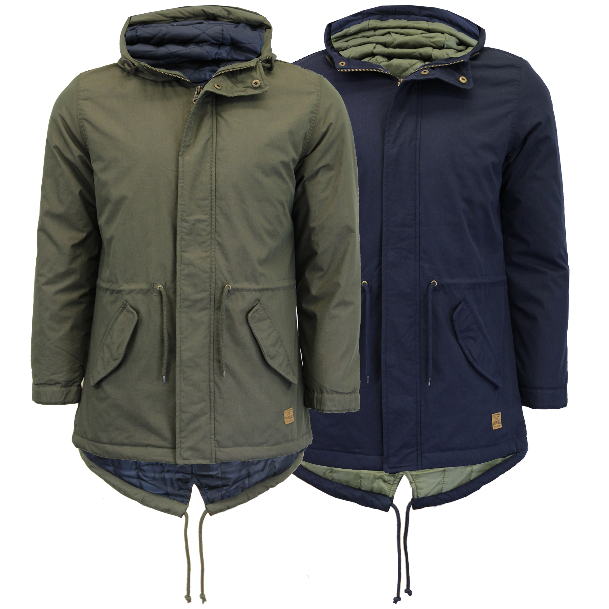 4dcb23d1b8d Mens Jacket Tokyo Laundry Parka Canvas Coat Padded Hooded Fish Tail ...