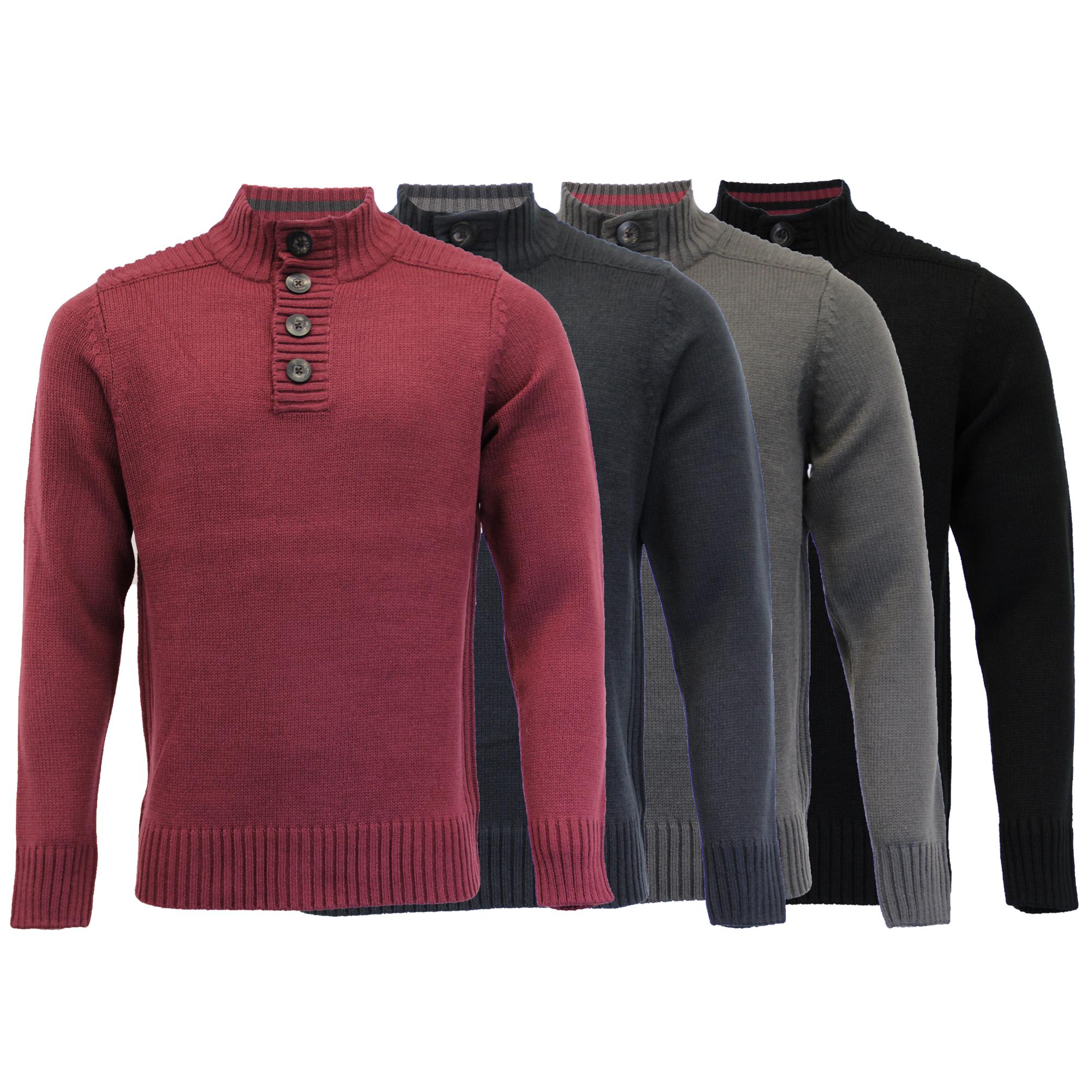 Mens-Knitted-Jumper-Kensington-Eastside-Sweater-Pullover-Top-Funnel-Neck-Winter thumbnail 3