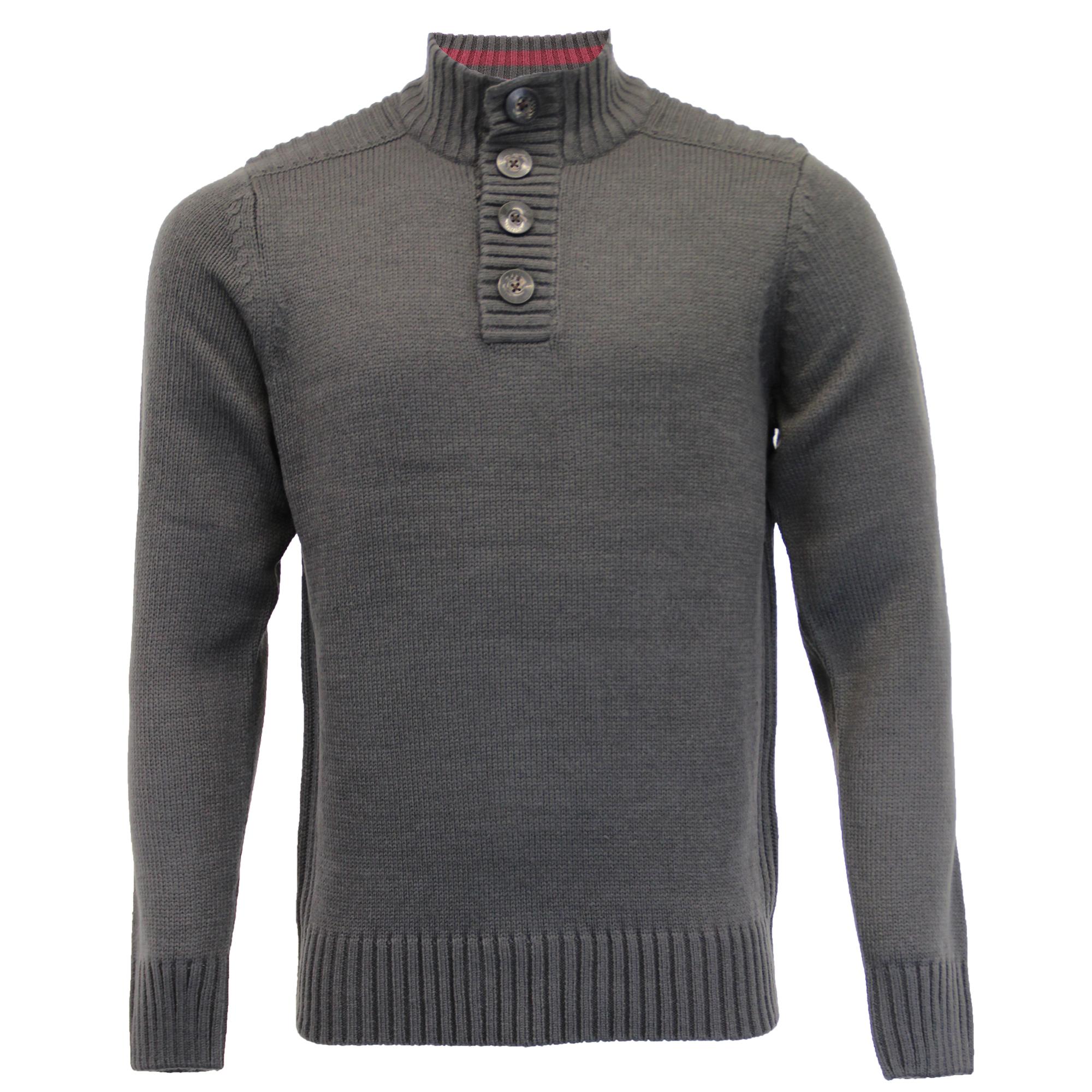Mens-Knitted-Jumper-Kensington-Eastside-Sweater-Pullover-Top-Funnel-Neck-Winter thumbnail 4
