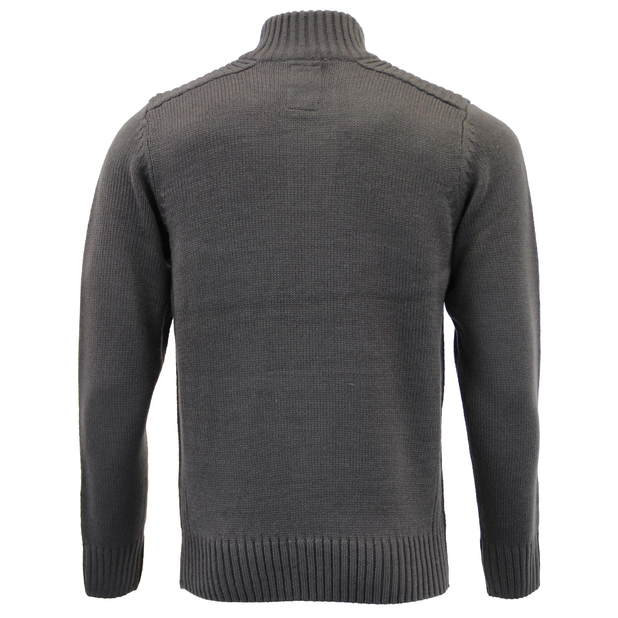 Mens-Knitted-Jumper-Kensington-Eastside-Sweater-Pullover-Top-Funnel-Neck-Winter thumbnail 5