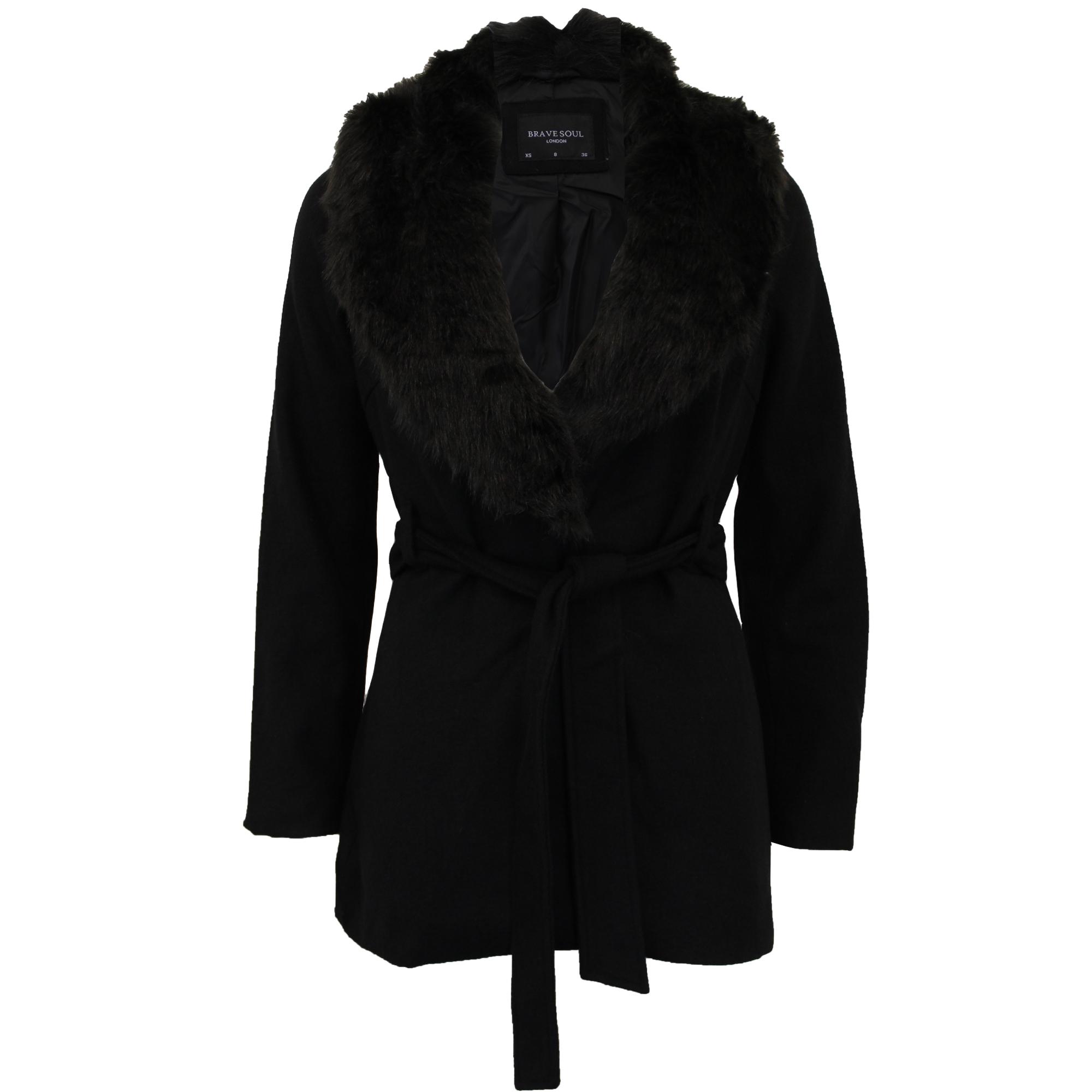 Soul pelliccia Giacca Cintura in Ada misto Black donna lana in da Womens Brave Winter da sintetica montgomery Giacca w8YOxpY