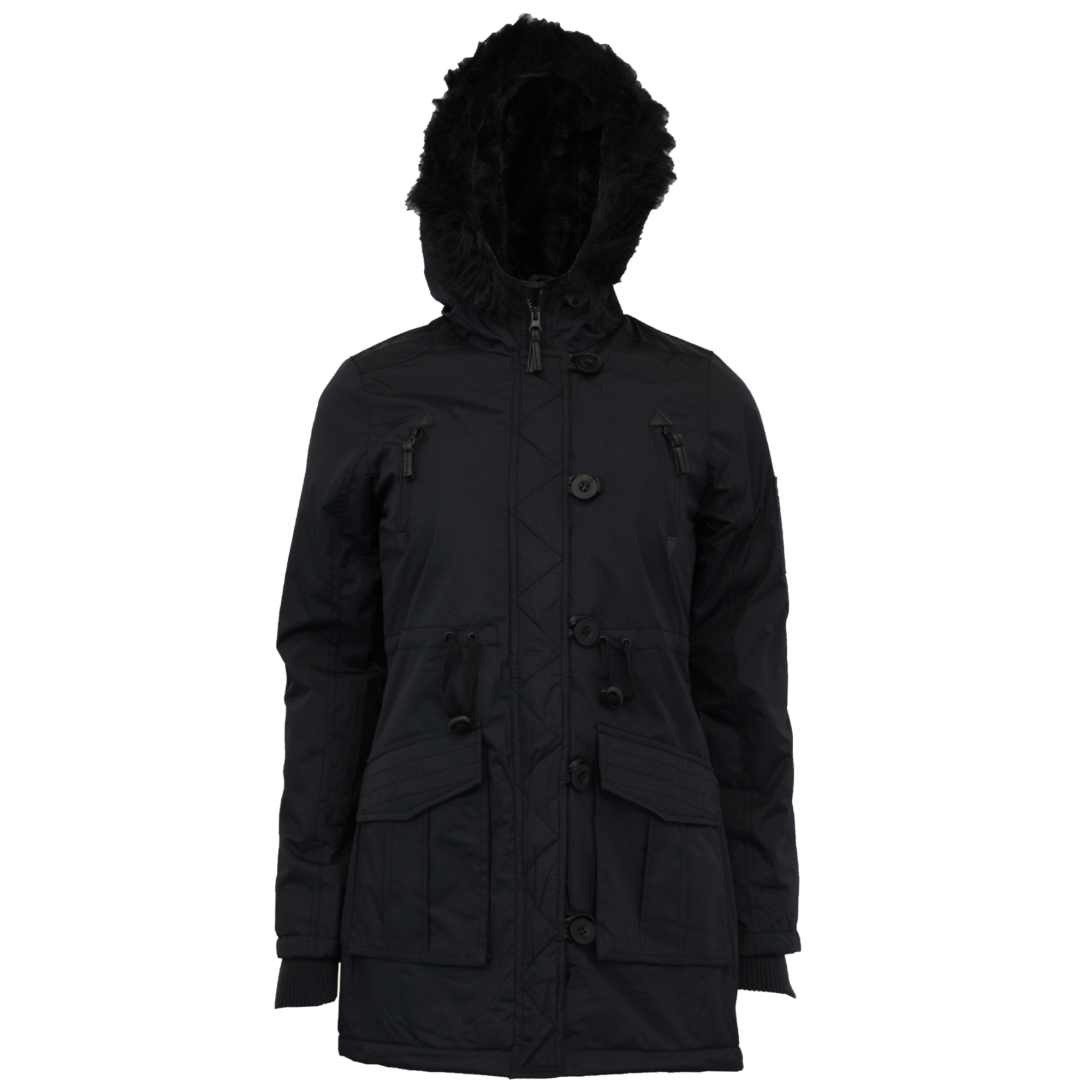 Details about Ladies Parka Jacket Womens Brave Soul Coat Padded Hooded Fur Military Winter New