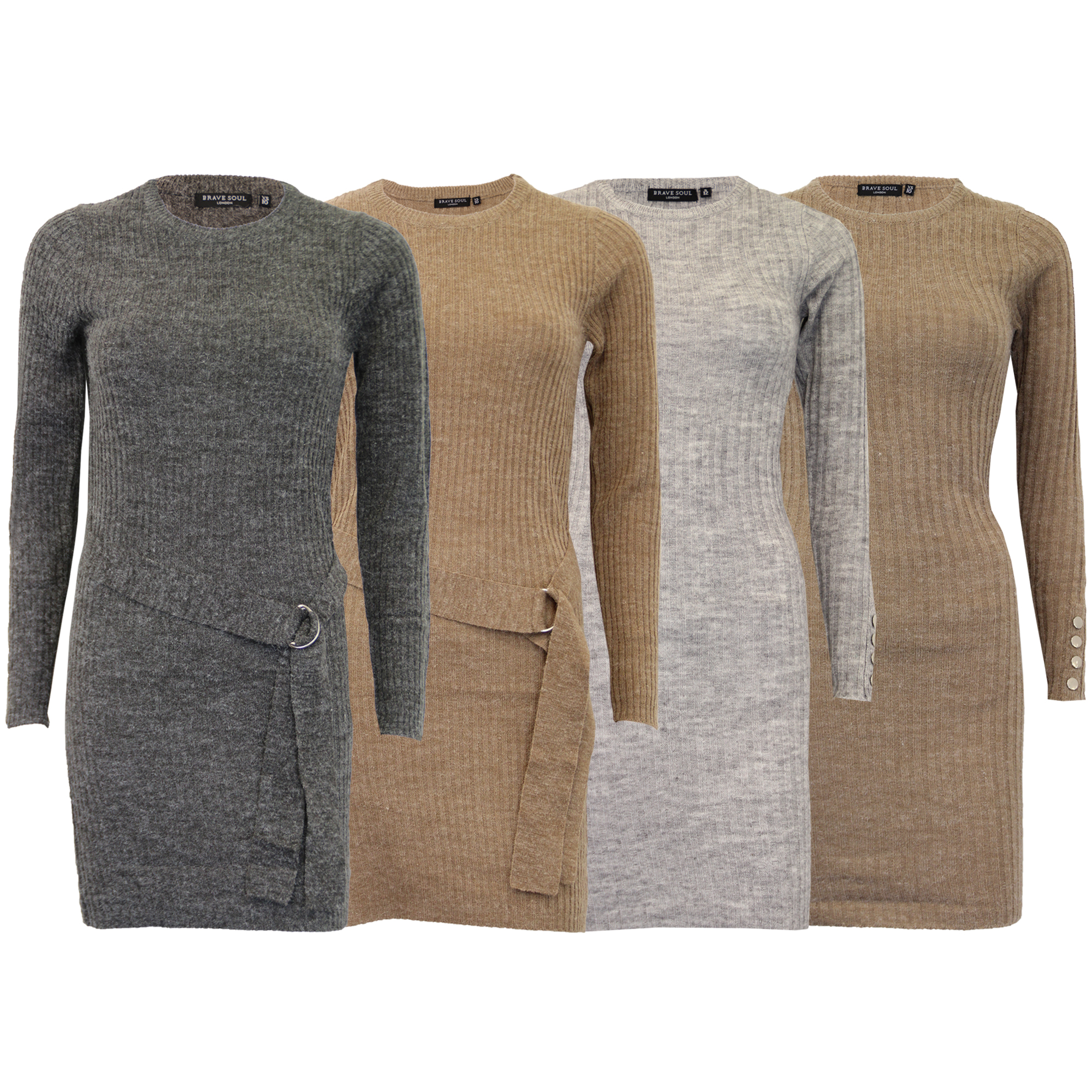 a4da367dcd68 Ladies Jumpers Brave Soul Womens Knitted Long Dress Ribbed Sweater ...