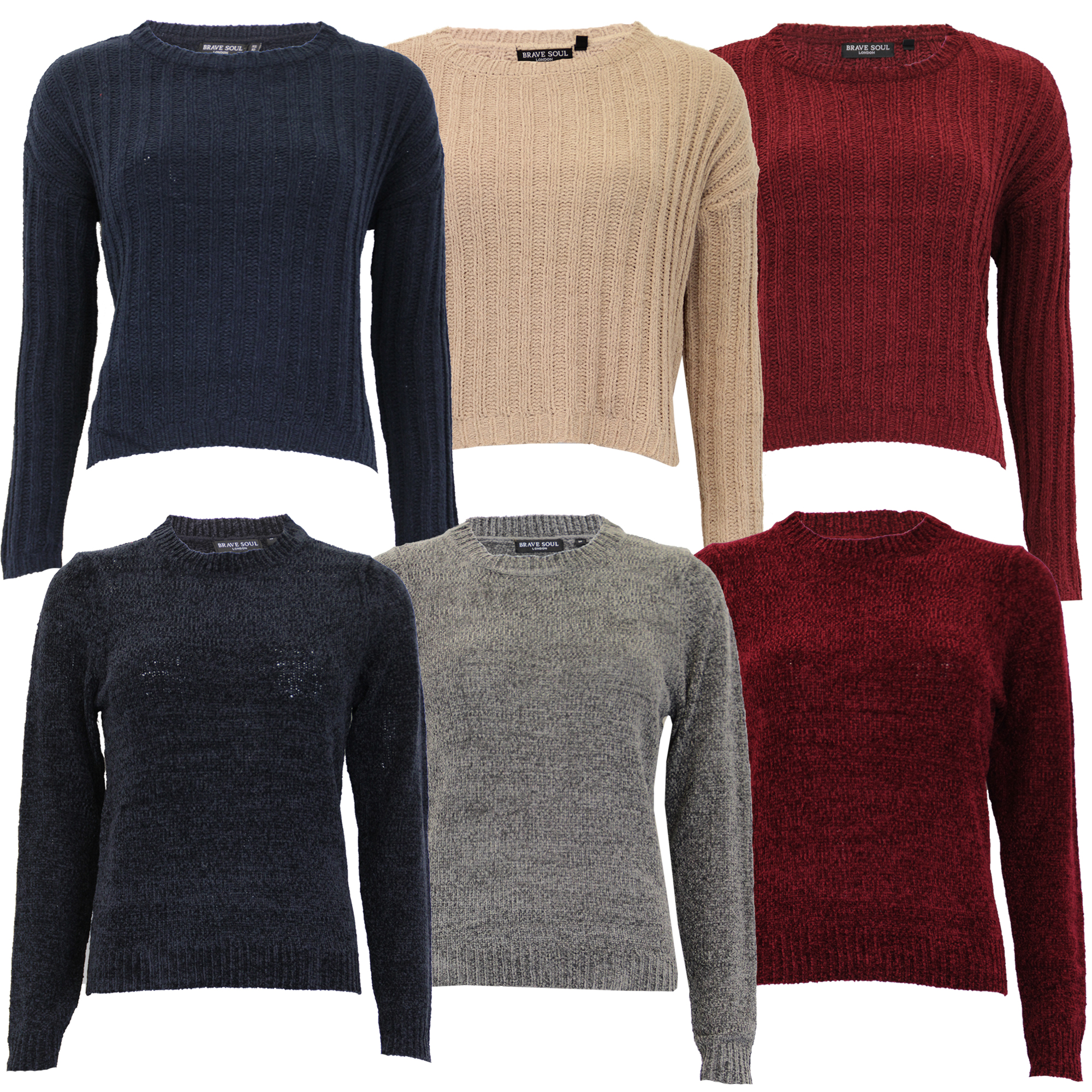 Details about Ladies Chenille Jumpers Brave Soul Womens Knitted Sweater Pullover Top Winter