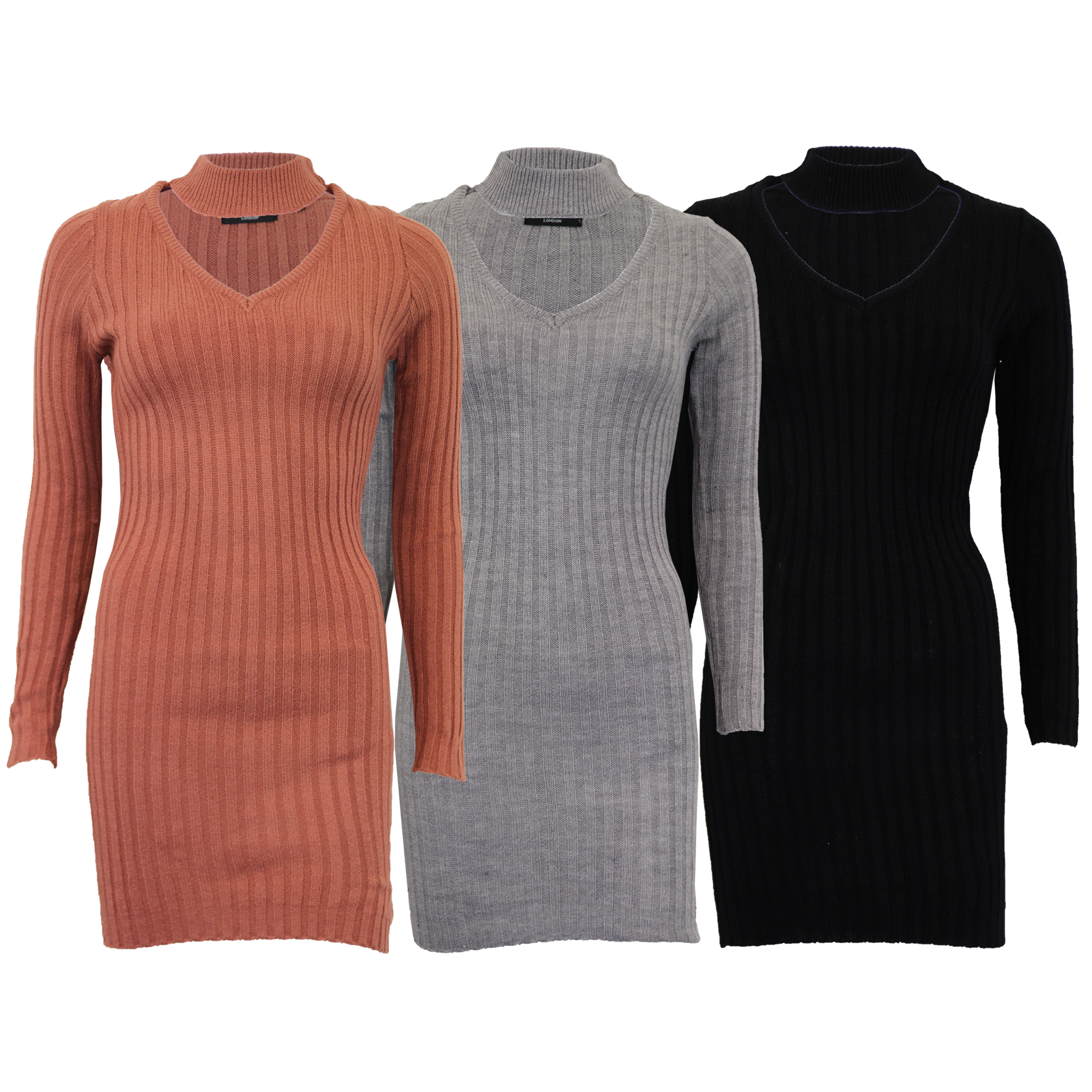 Details about Ladies Jumpers Brave Soul Womens Knitted Long Dress Choker Neck Ribbed Winter