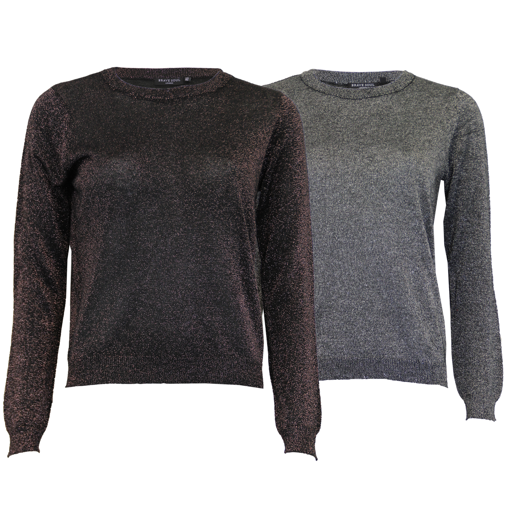 5accac072f8 Details about Ladies Jumper Brave Soul Womens Knitted Sweater Pullover  Metallic Yarn Winter