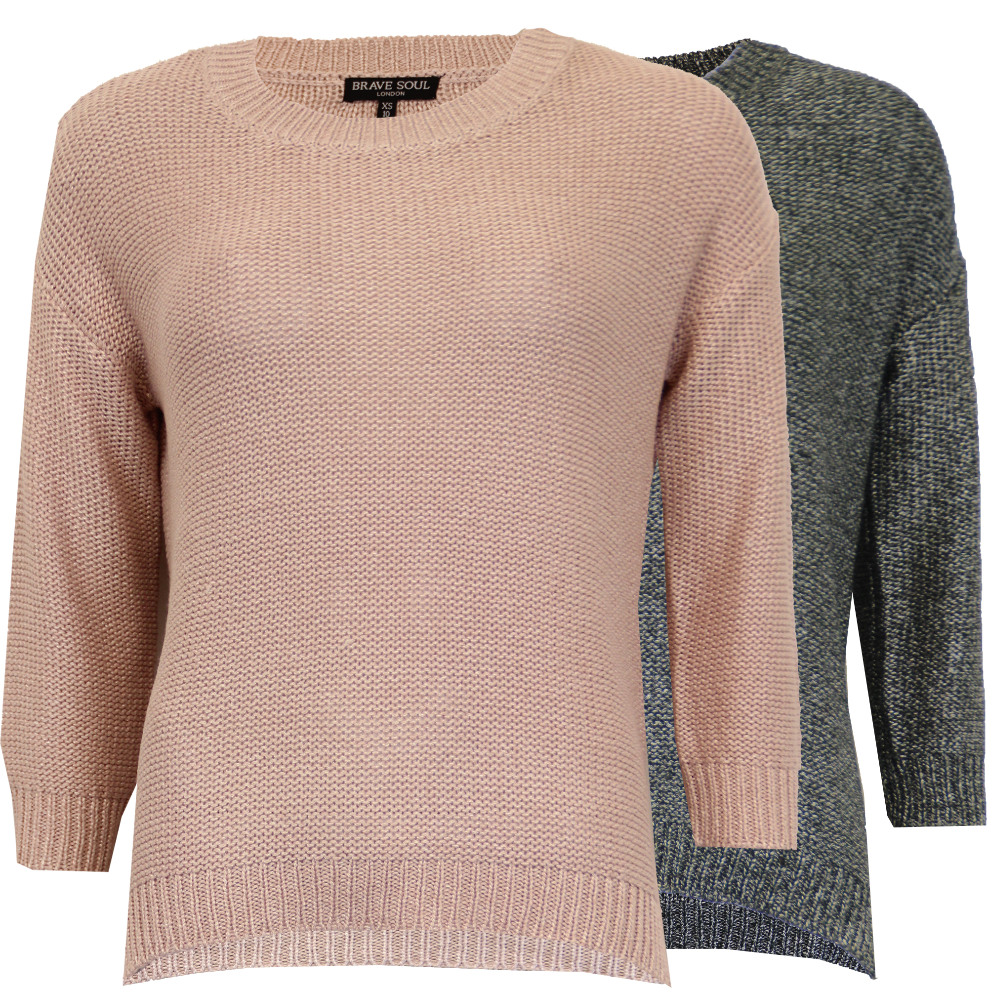 123fcbe410a7 Ladies Jumper Brave Soul Womens Knitted Sweater Crew Neck Top Casual ...