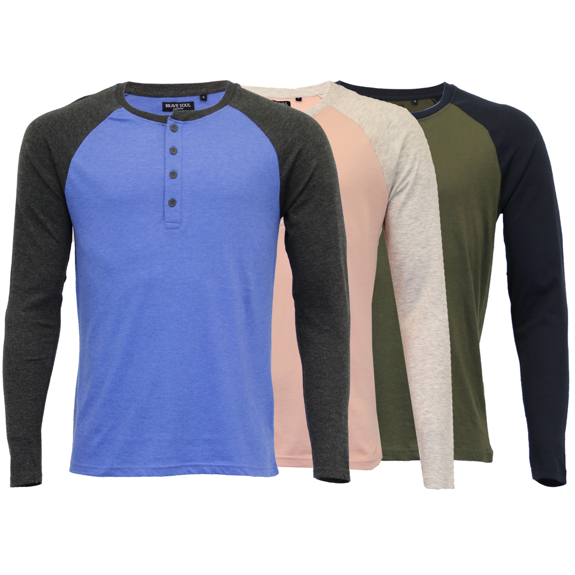 Mens Long Sleeved Jersey Top Brave Soul Henley Crew Neck