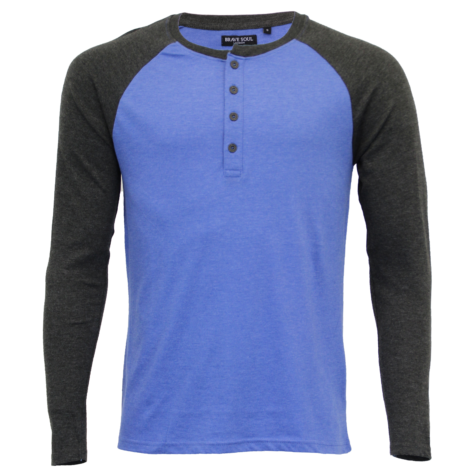 Mens long sleeved jersey top brave soul henley crew neck for Best henley long sleeve shirts
