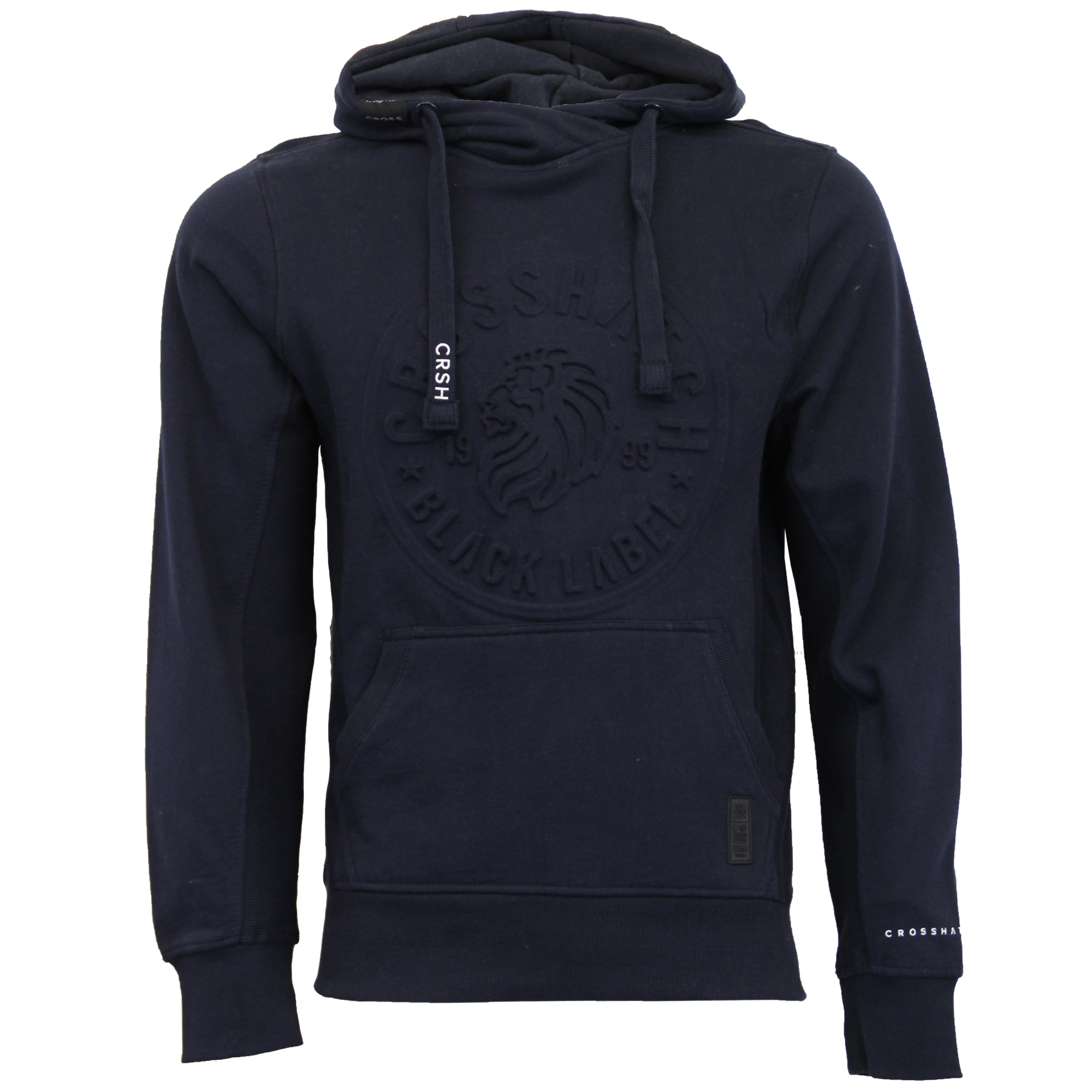 Mens-Sweatshirt-Crosshatch-Hoodie-Top-Embossed-Logo-Print-Sweat-Fleece-Lined-New thumbnail 15