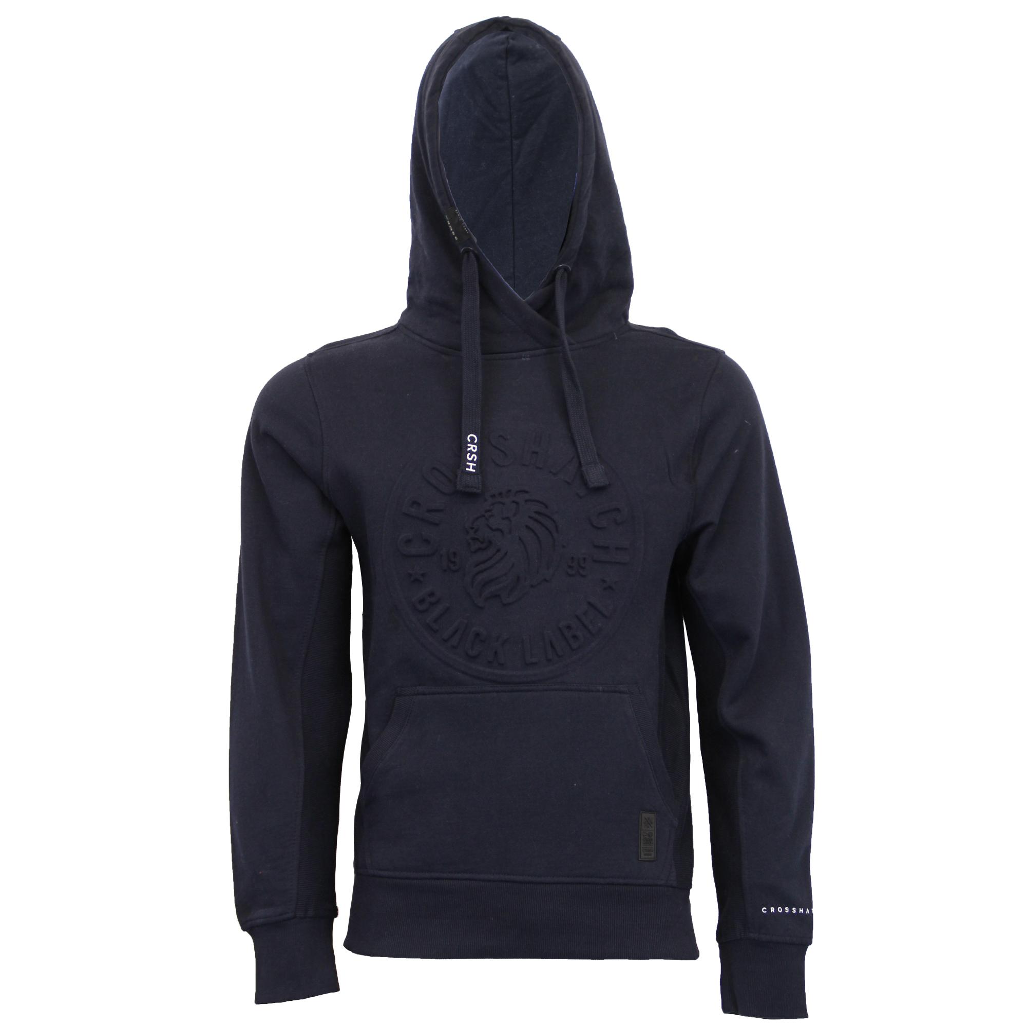 Mens-Sweatshirt-Crosshatch-Hoodie-Top-Embossed-Logo-Print-Sweat-Fleece-Lined-New thumbnail 16