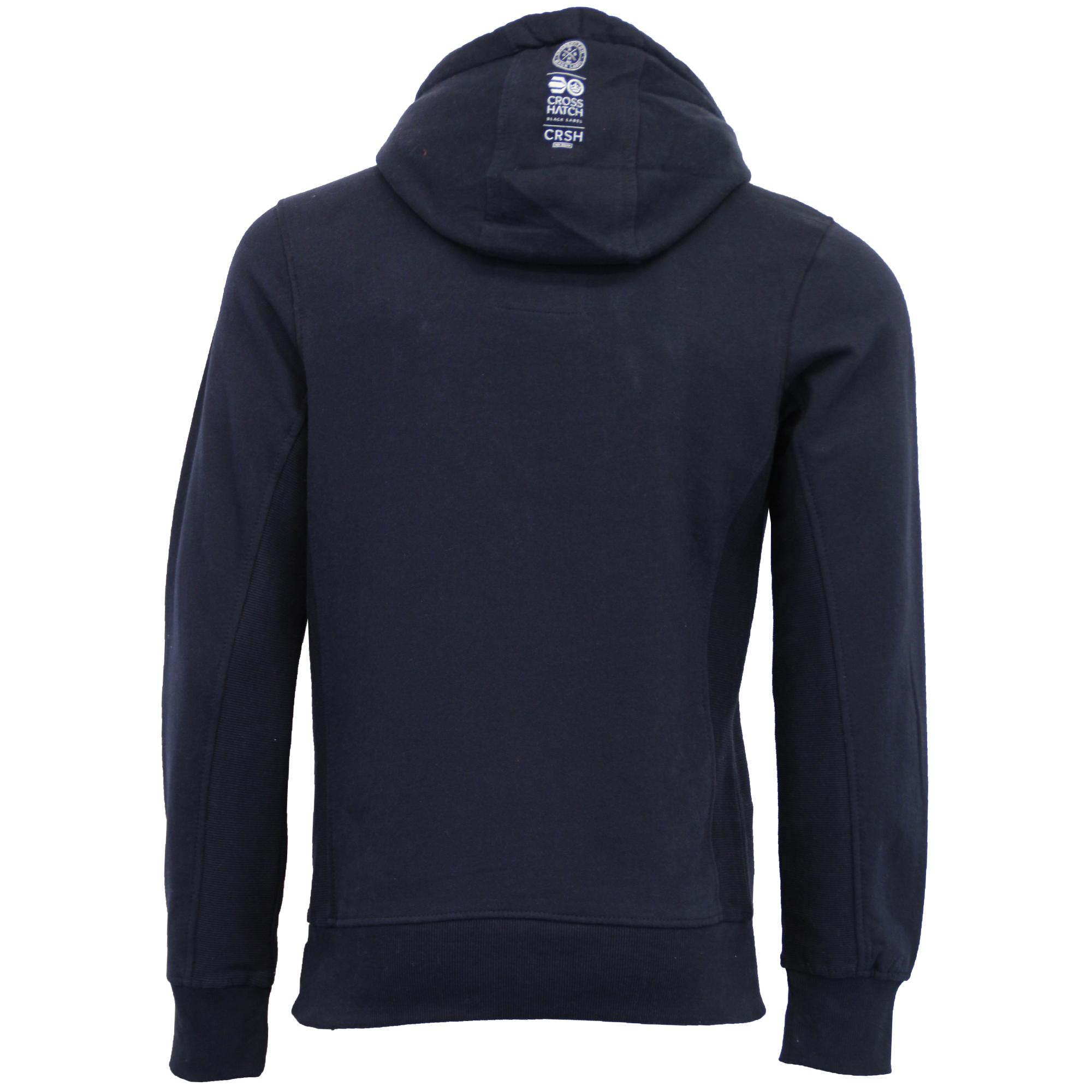 Mens-Sweatshirt-Crosshatch-Hoodie-Top-Embossed-Logo-Print-Sweat-Fleece-Lined-New thumbnail 17