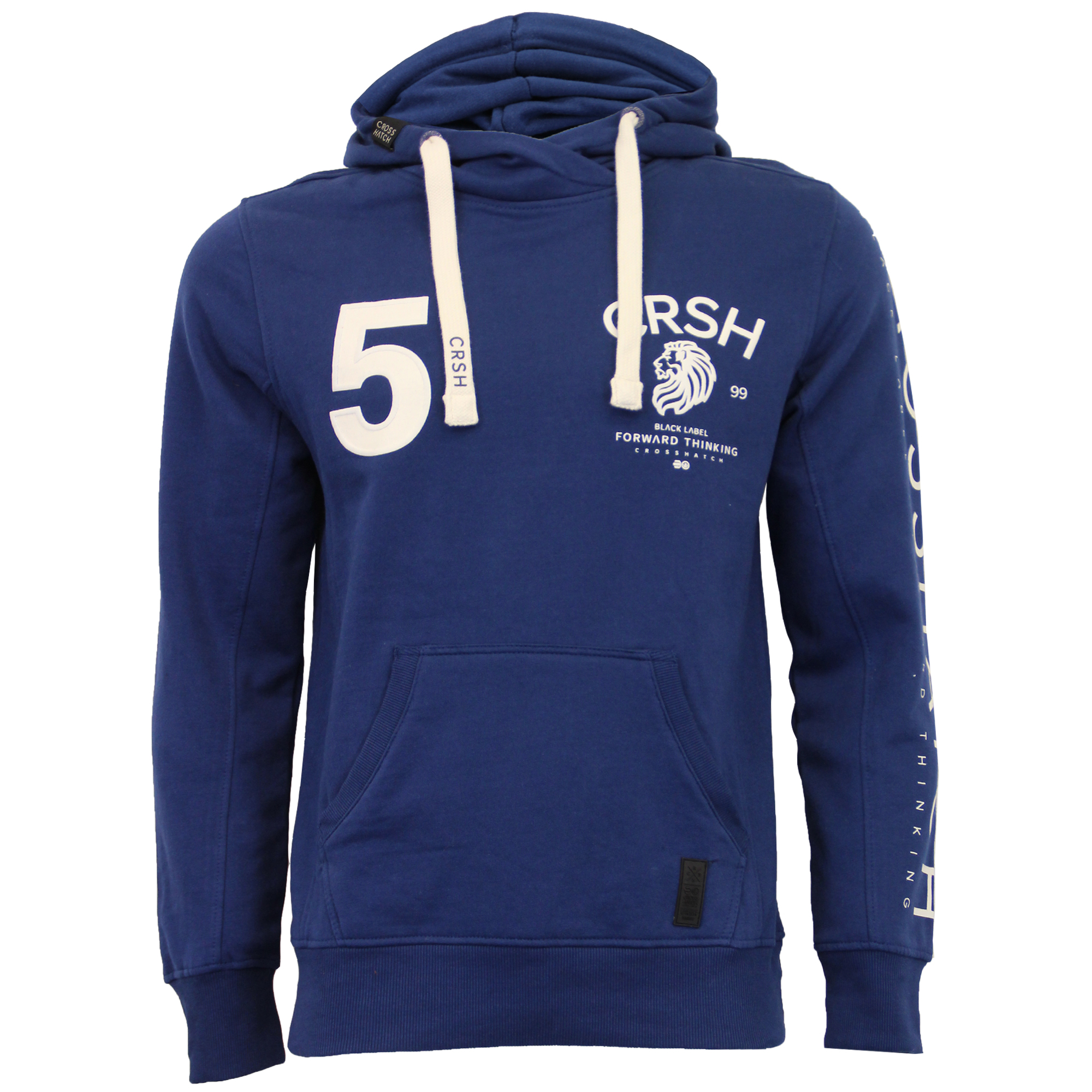 Mens-Sweatshirt-Crosshatch-Hoodie-Top-Embossed-Logo-Print-Sweat-Fleece-Lined-New thumbnail 6